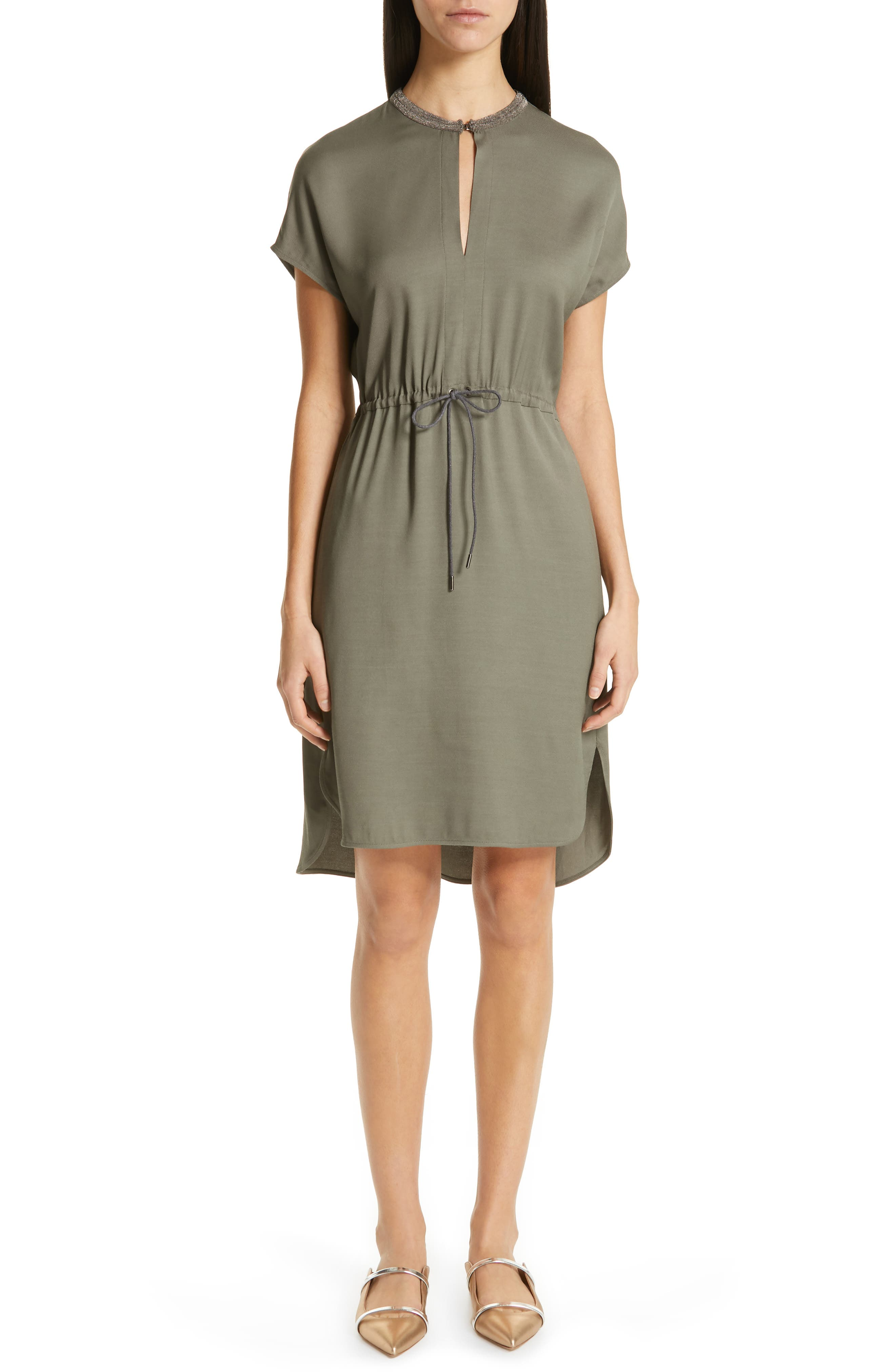 Fabiana Filippi Short Sleeve Dress, US / 48 IT - Green