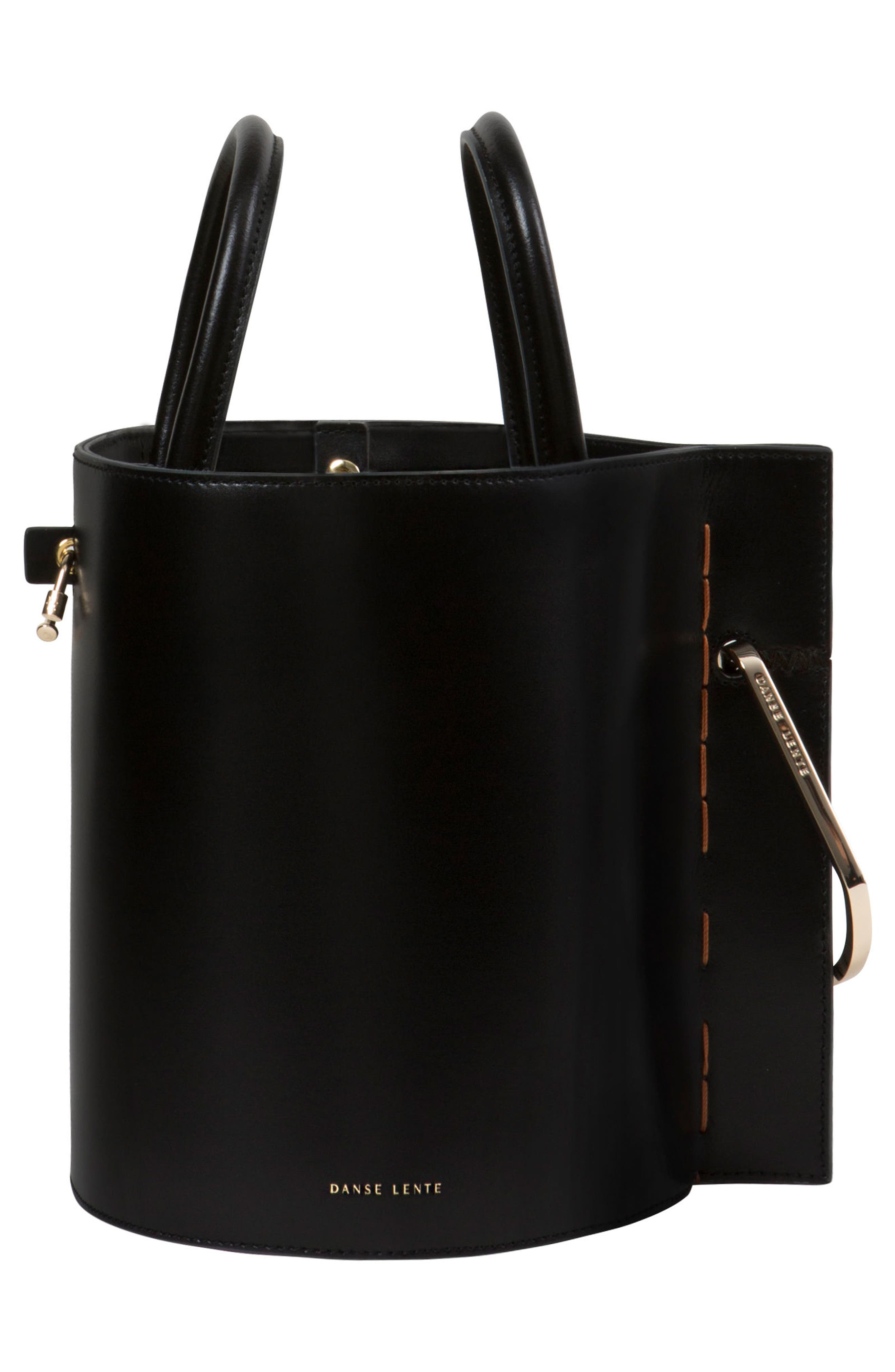 Bobbi Leather Tote,                             Alternate thumbnail 4, color,                             BLACK