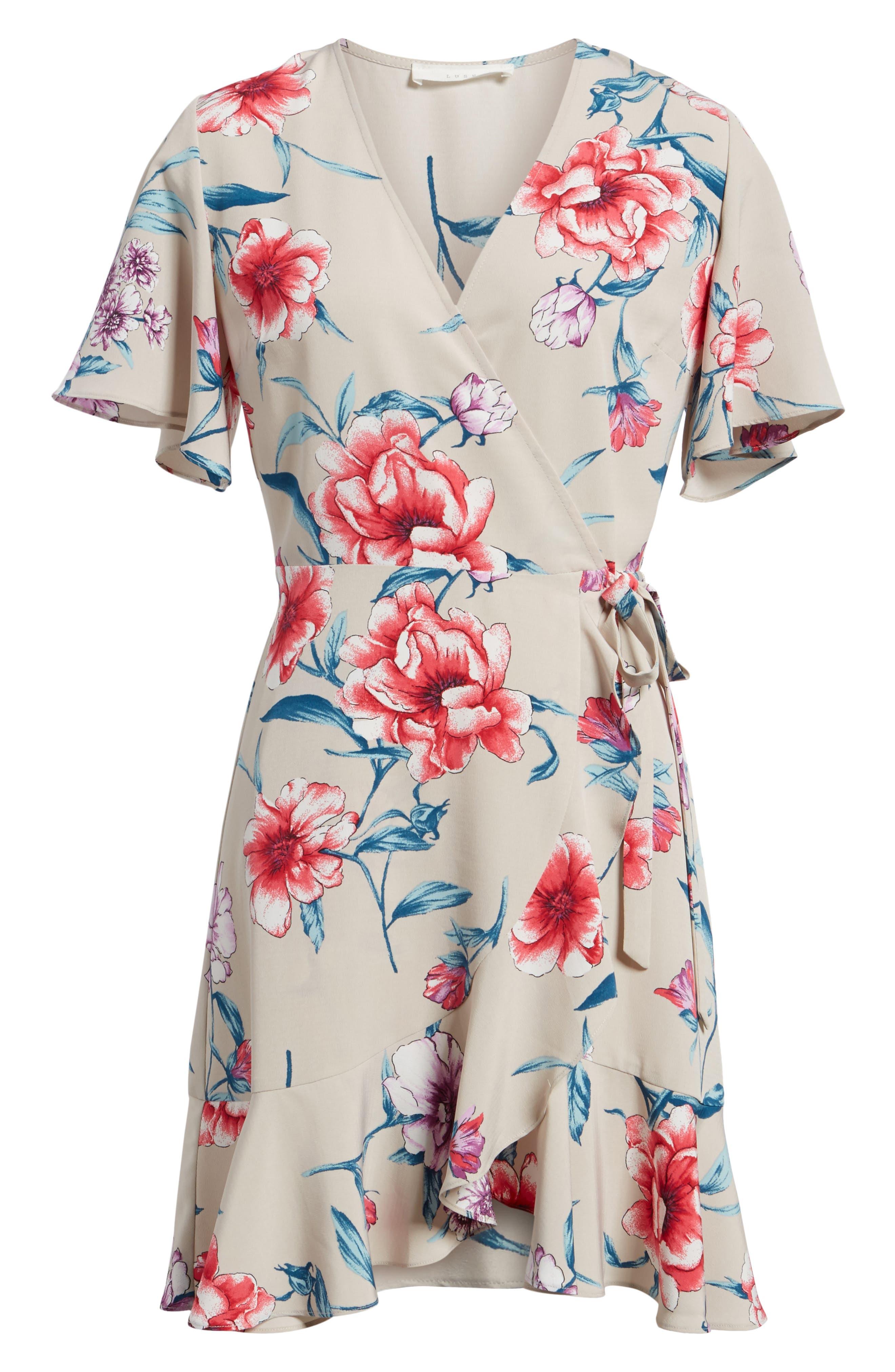 Lucy Floral Wrap Dress,                             Alternate thumbnail 22, color,