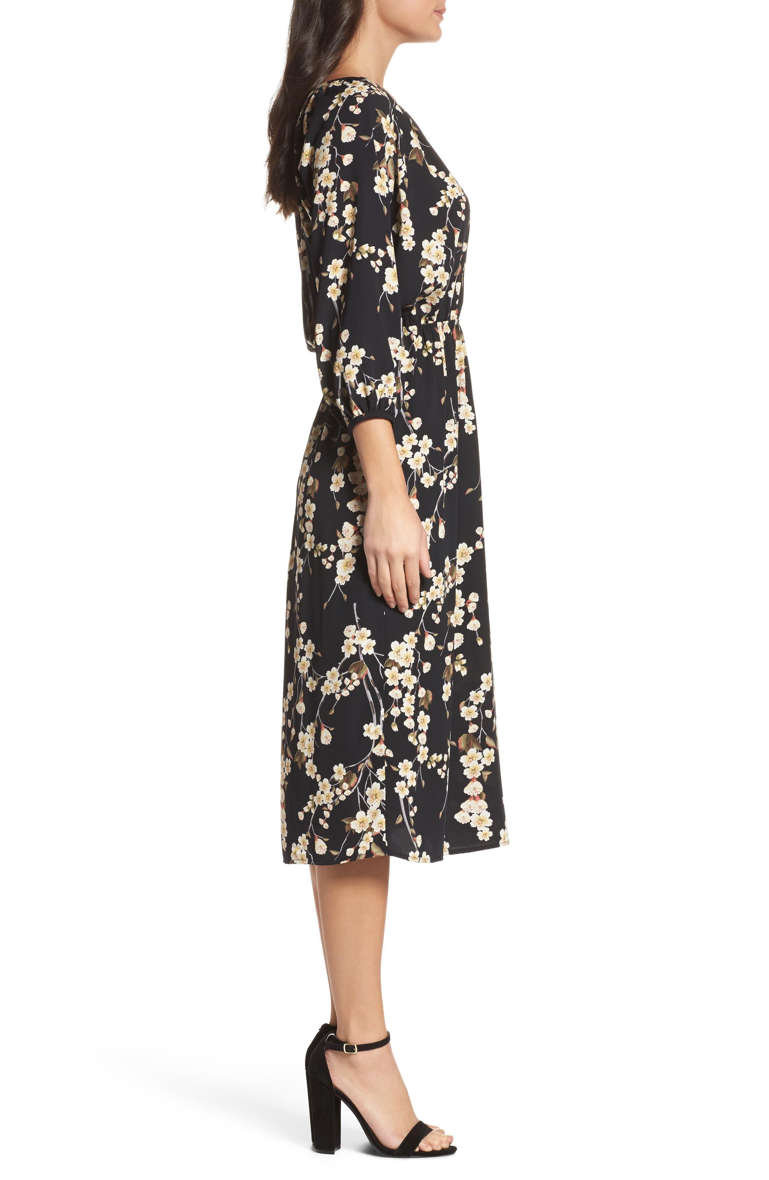 Floral Blouson Dress,                             Alternate thumbnail 3, color,                             002