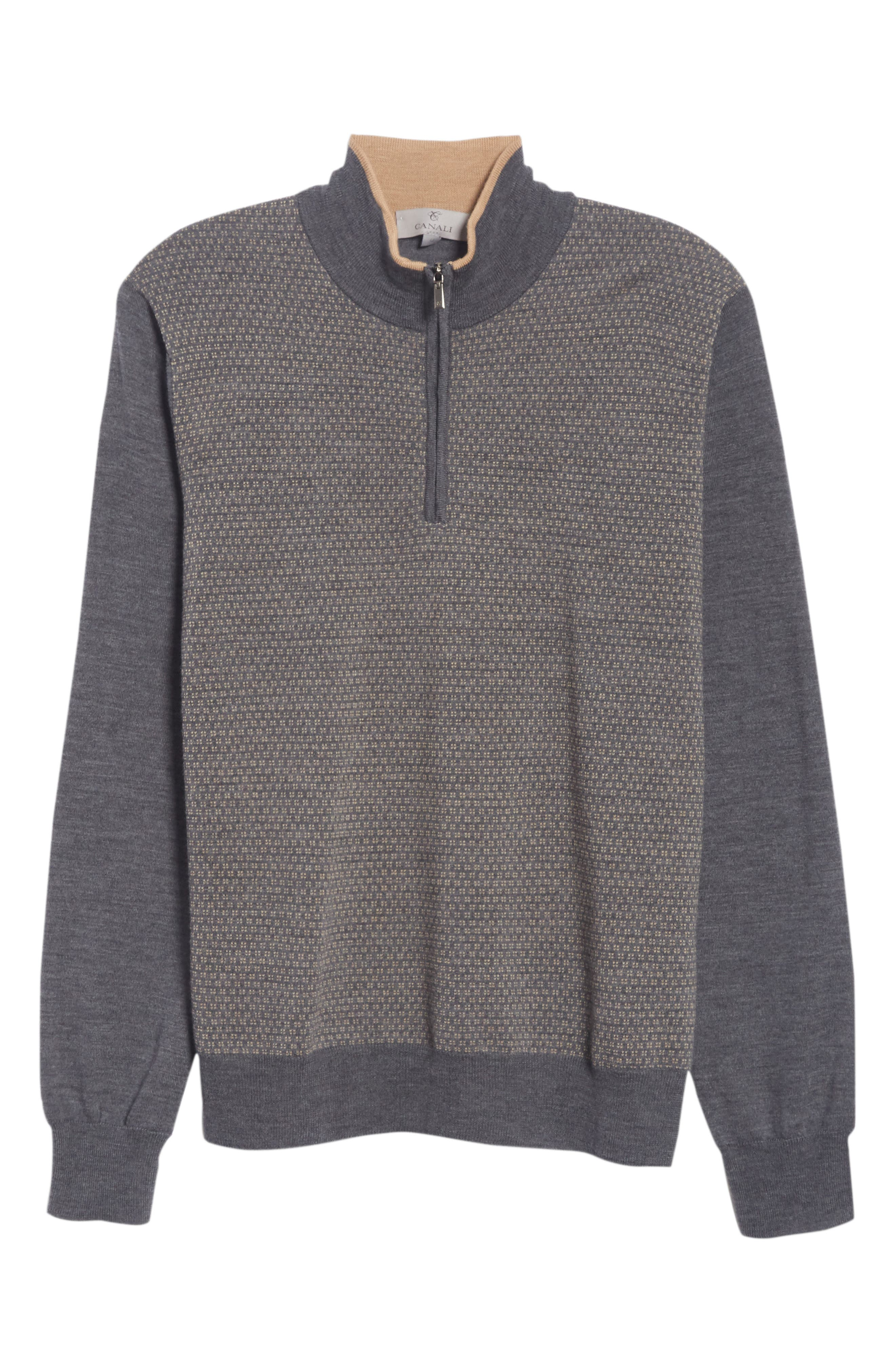 Quarter Zip Wool Sweater,                             Alternate thumbnail 6, color,                             020