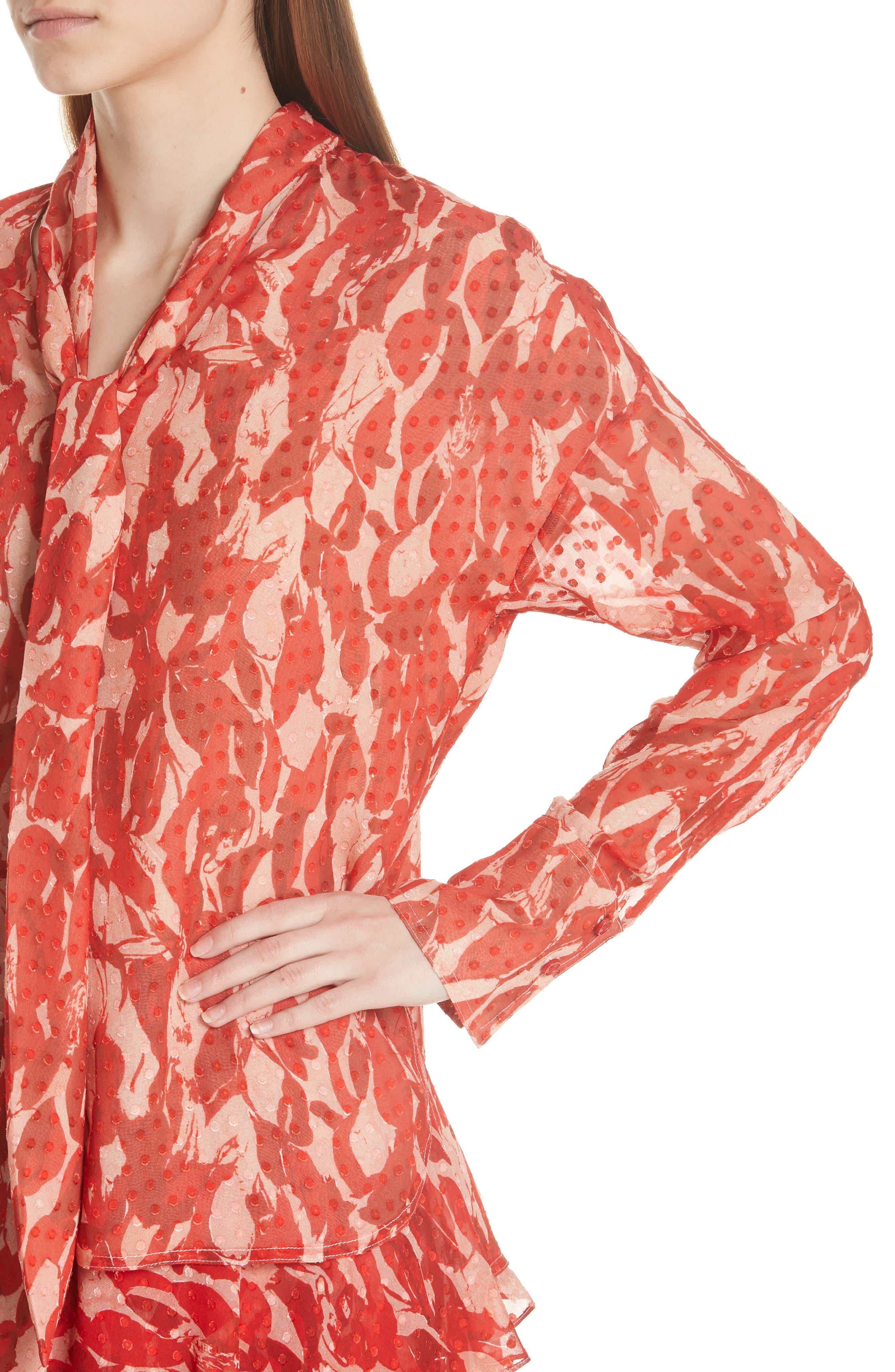 Print Clip Dot Tie Neck Blouse,                             Alternate thumbnail 4, color,                             600