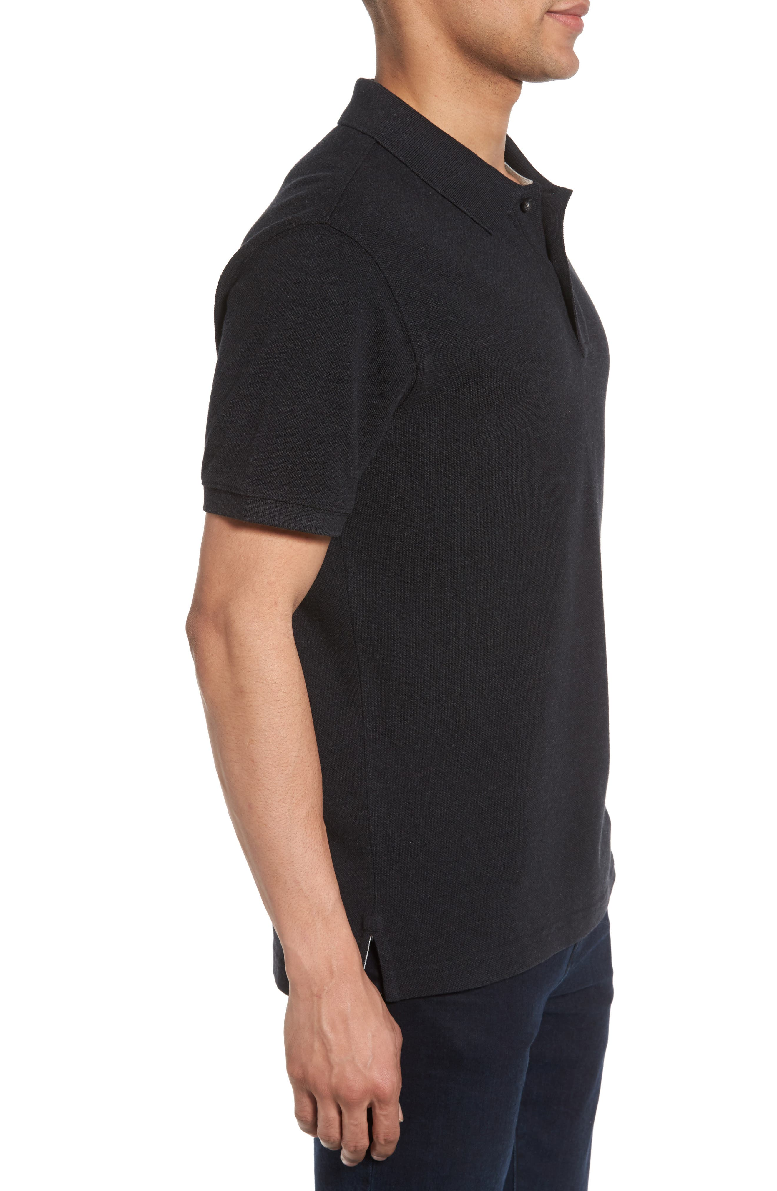 'The Gunn' Piqué Sports Fit Cotton Polo,                             Alternate thumbnail 3, color,                             CHARCOAL