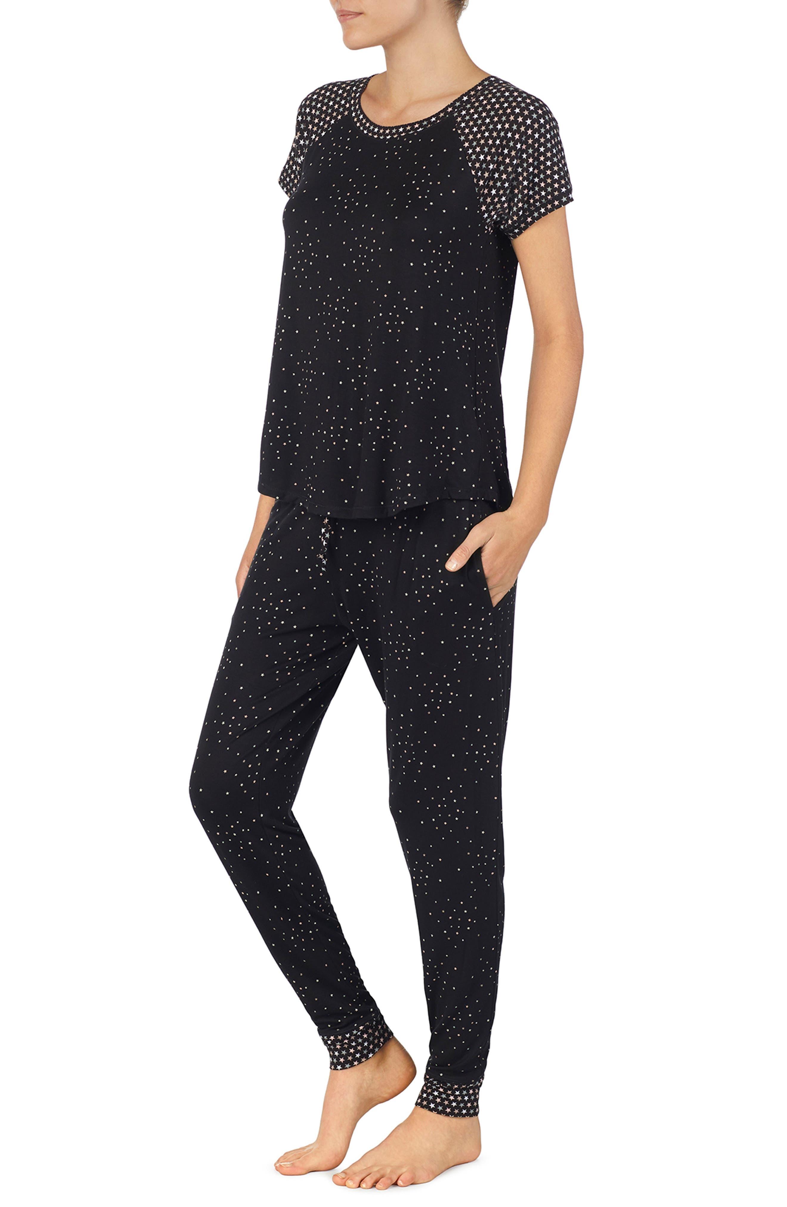 Jersey Pajamas,                             Alternate thumbnail 3, color,                             BLACK PRT