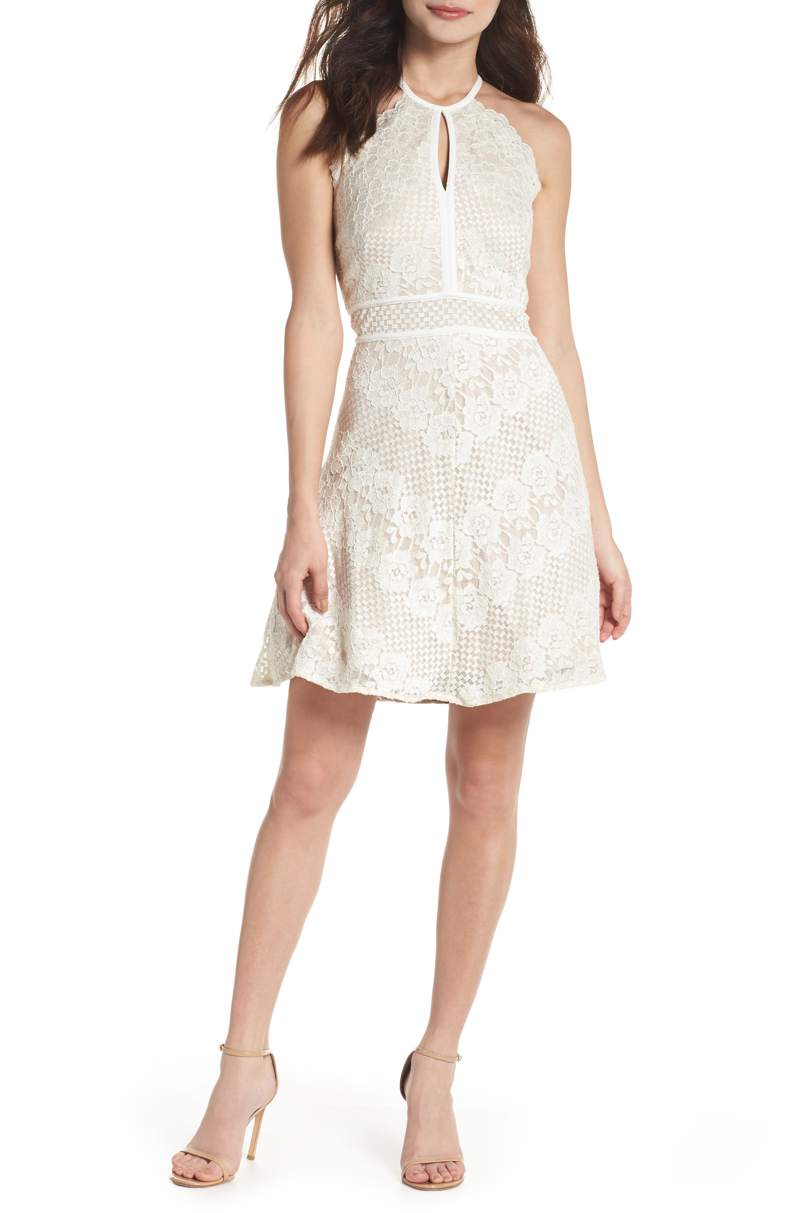 Lace Halter Dress,                             Main thumbnail 1, color,                             IVORY/ NUDE