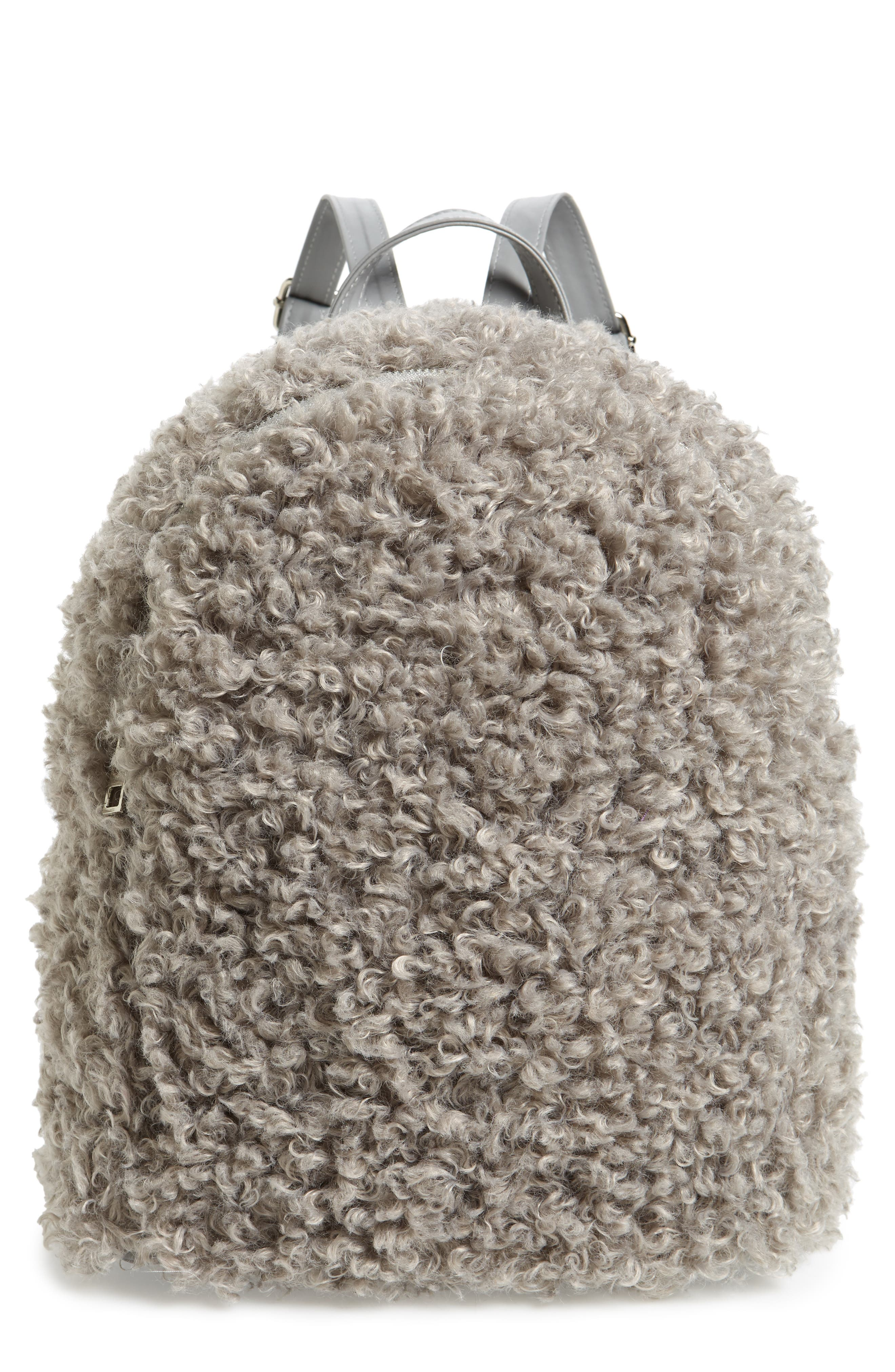 Curly Faux Shearling Backpack,                             Main thumbnail 1, color,                             020