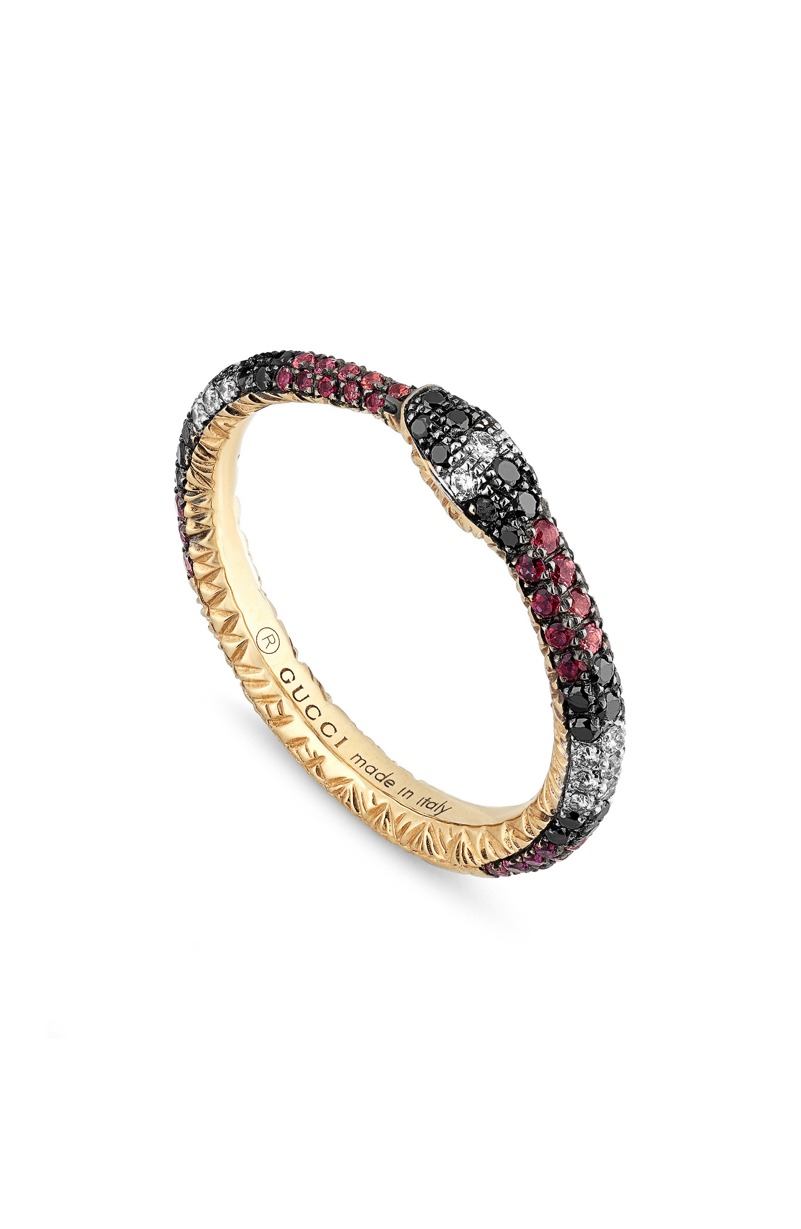 GUCCI,                             Ouroboros Diamond & Stone Pavé Snake Ring,                             Main thumbnail 1, color,                             TOPAZ/ SAPPHIRE/ BLACK DIAMOND
