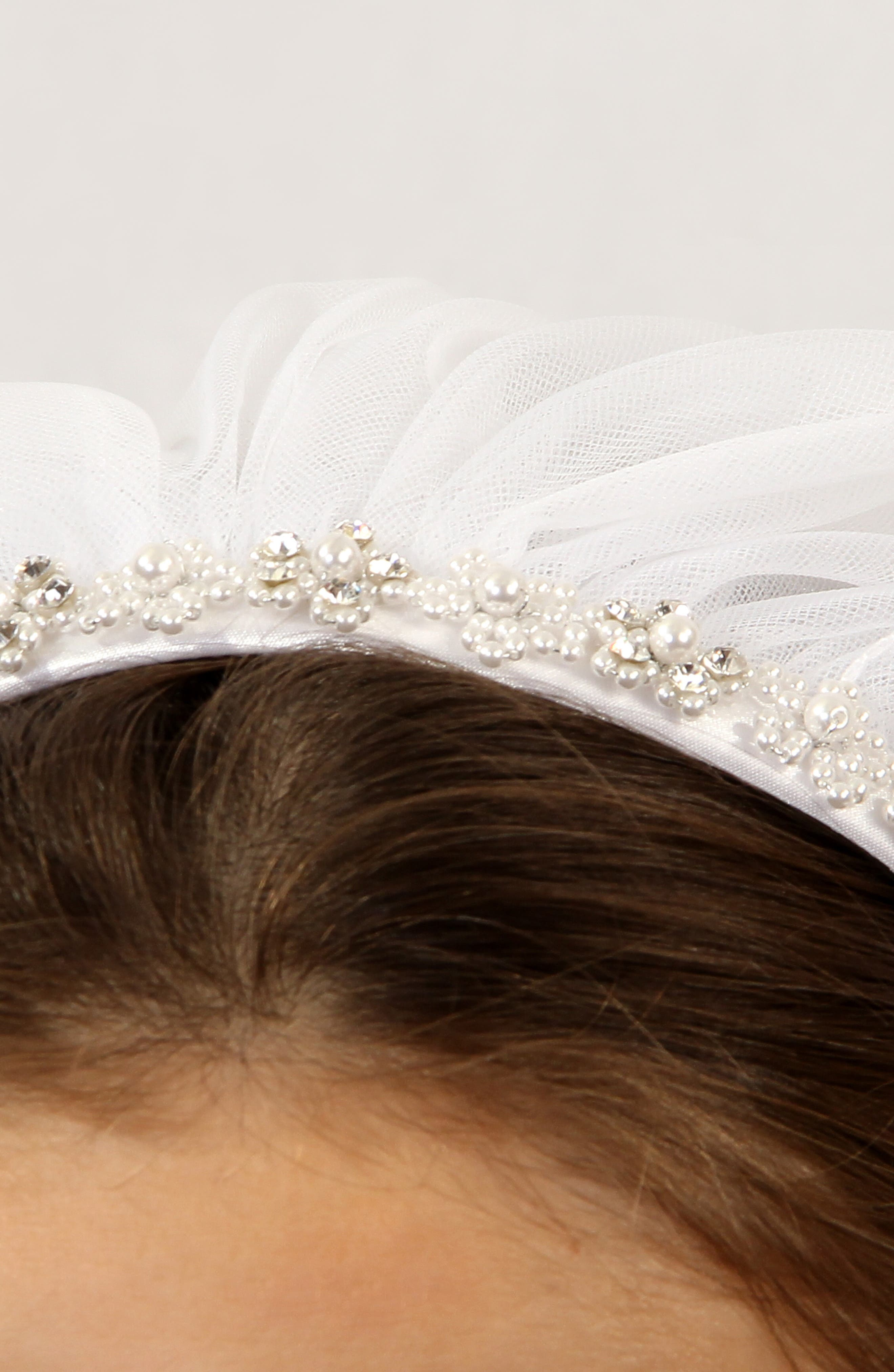 LAUREN MARIE,                             First Communion Crystal Headband with Veil,                             Alternate thumbnail 2, color,                             WHITE