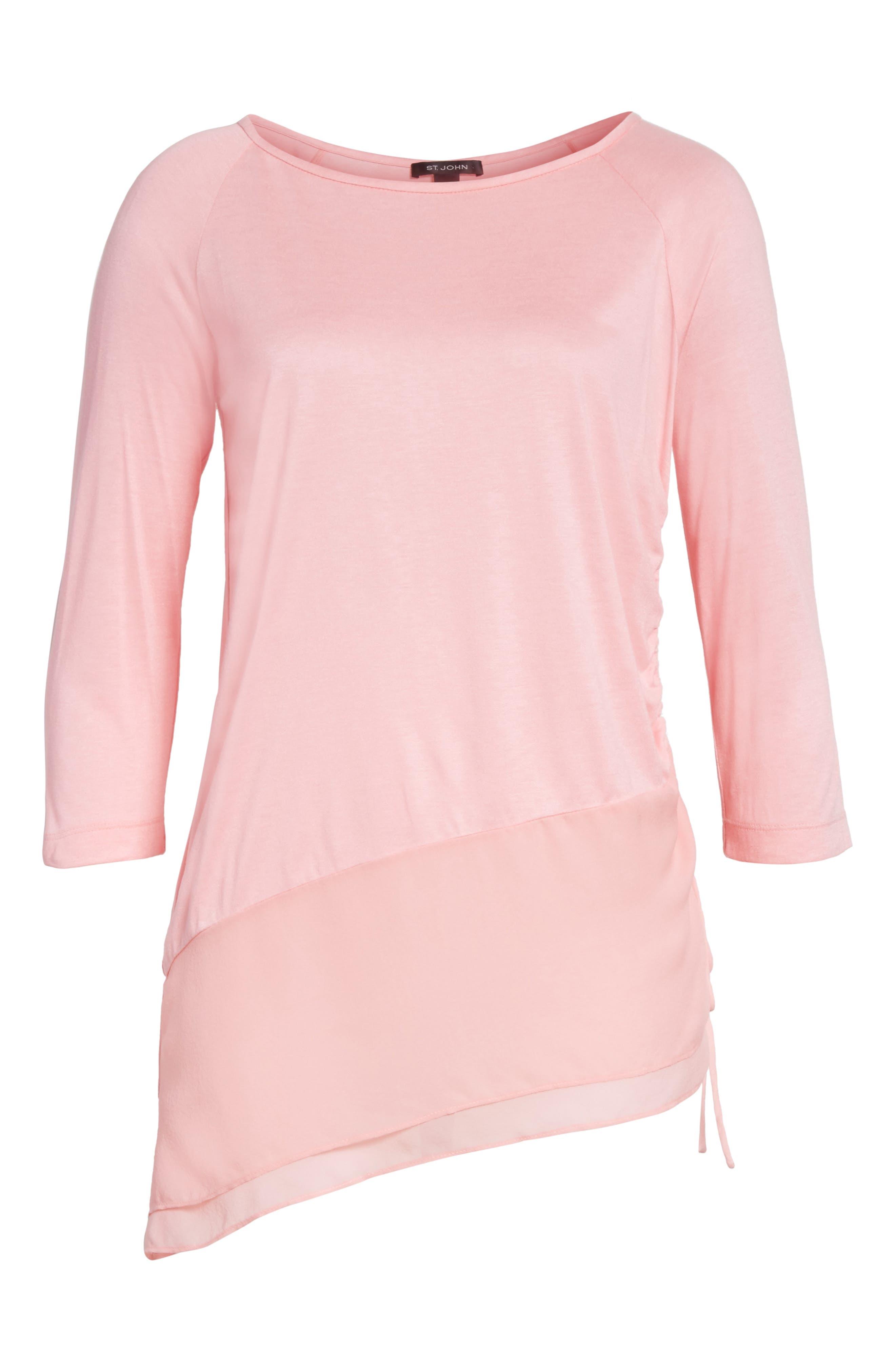 Silk Georgette & Jersey Asymmetrical Blouse,                             Alternate thumbnail 6, color,                             660