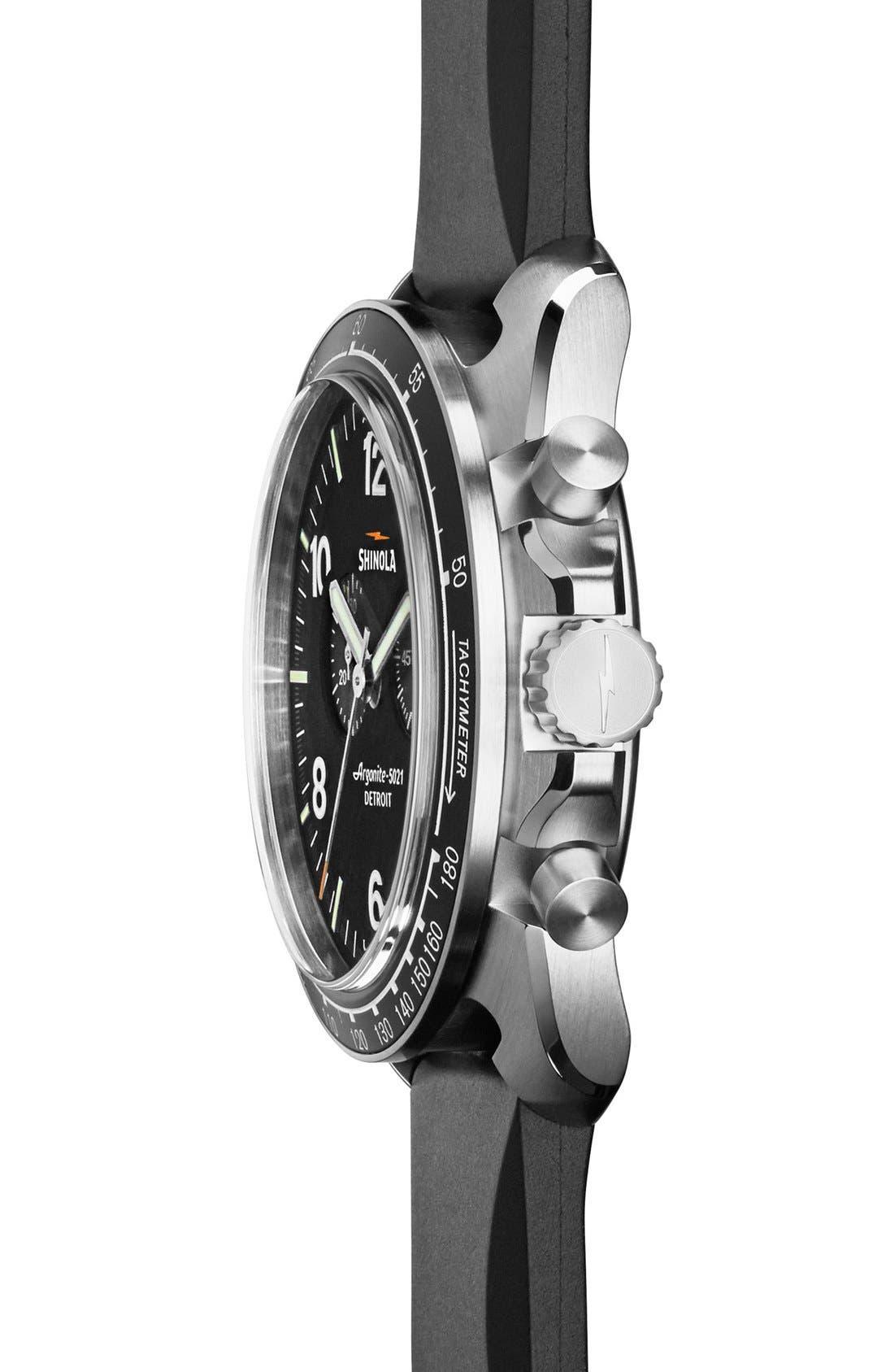 SHINOLA,                             'The Rambler' Chronograph Rubber Strap Watch, 44mm,                             Alternate thumbnail 2, color,                             001