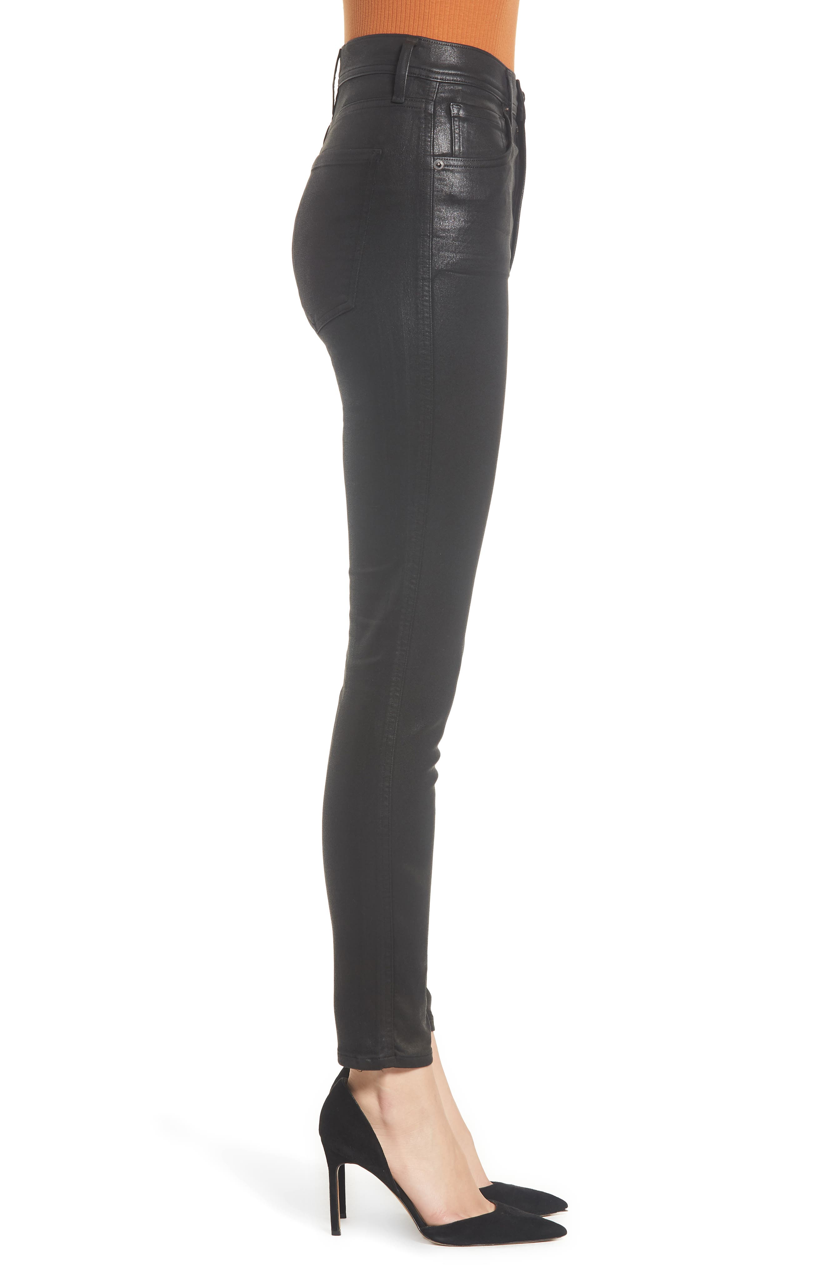 Roxanne Faux Leather High Waist Ankle Skinny Pants,                             Alternate thumbnail 3, color,                             007
