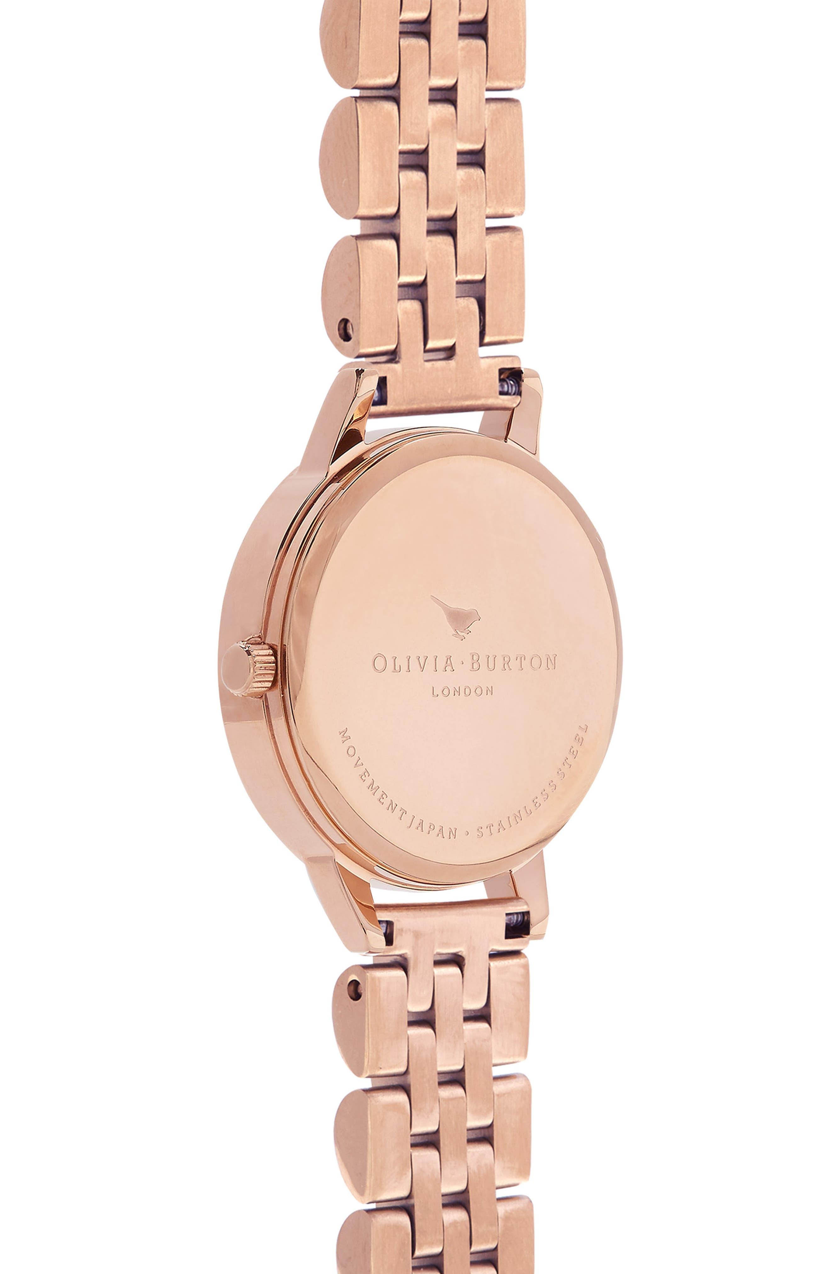 OLIVIA BURTON,                             Wonderland Bracelet Watch, 30mm,                             Alternate thumbnail 3, color,                             ROSE GOLD/ HITE/ ROSE GOLD