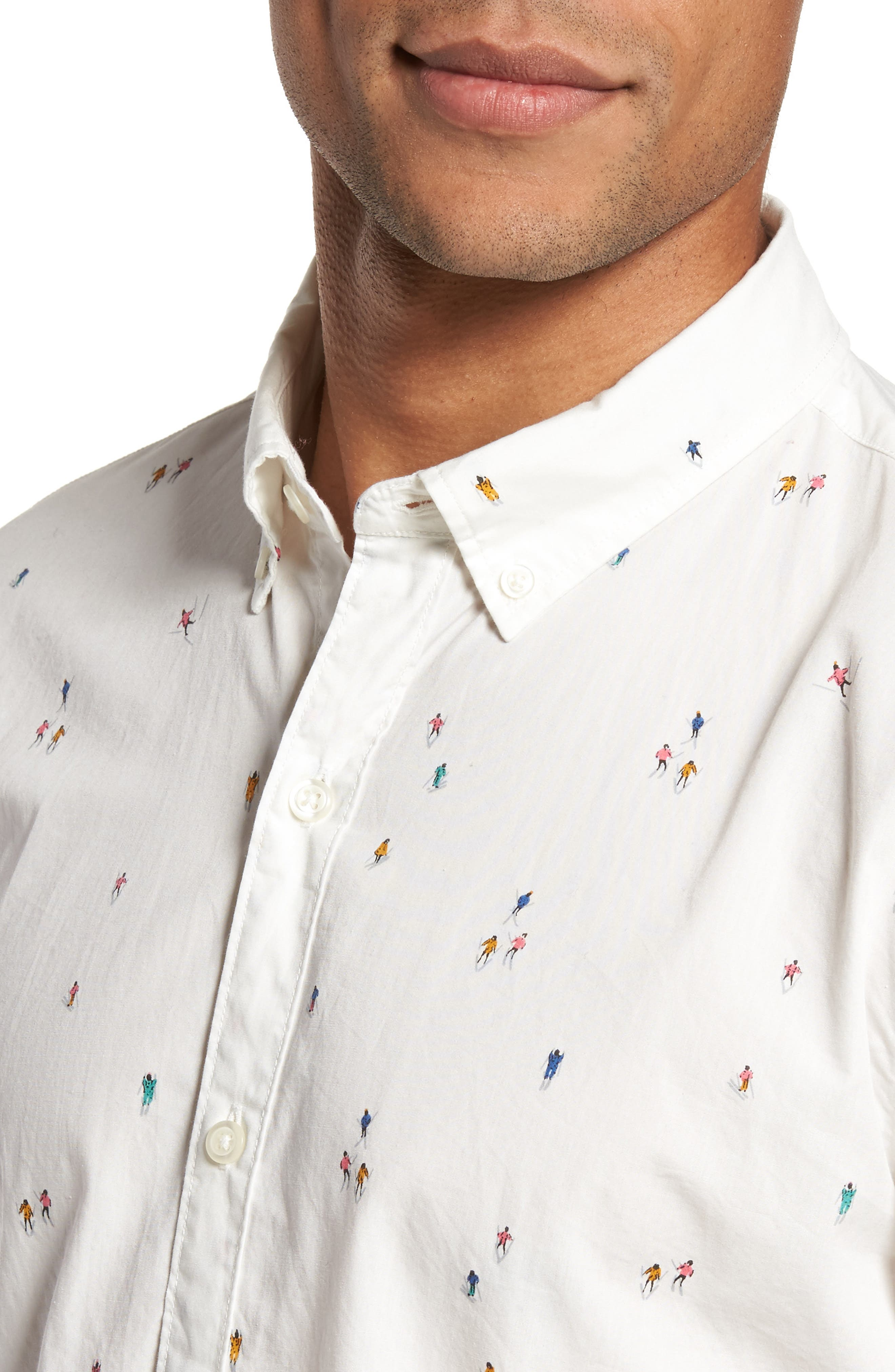 Slim Fit Skier Print Sport Shirt,                             Alternate thumbnail 4, color,                             100