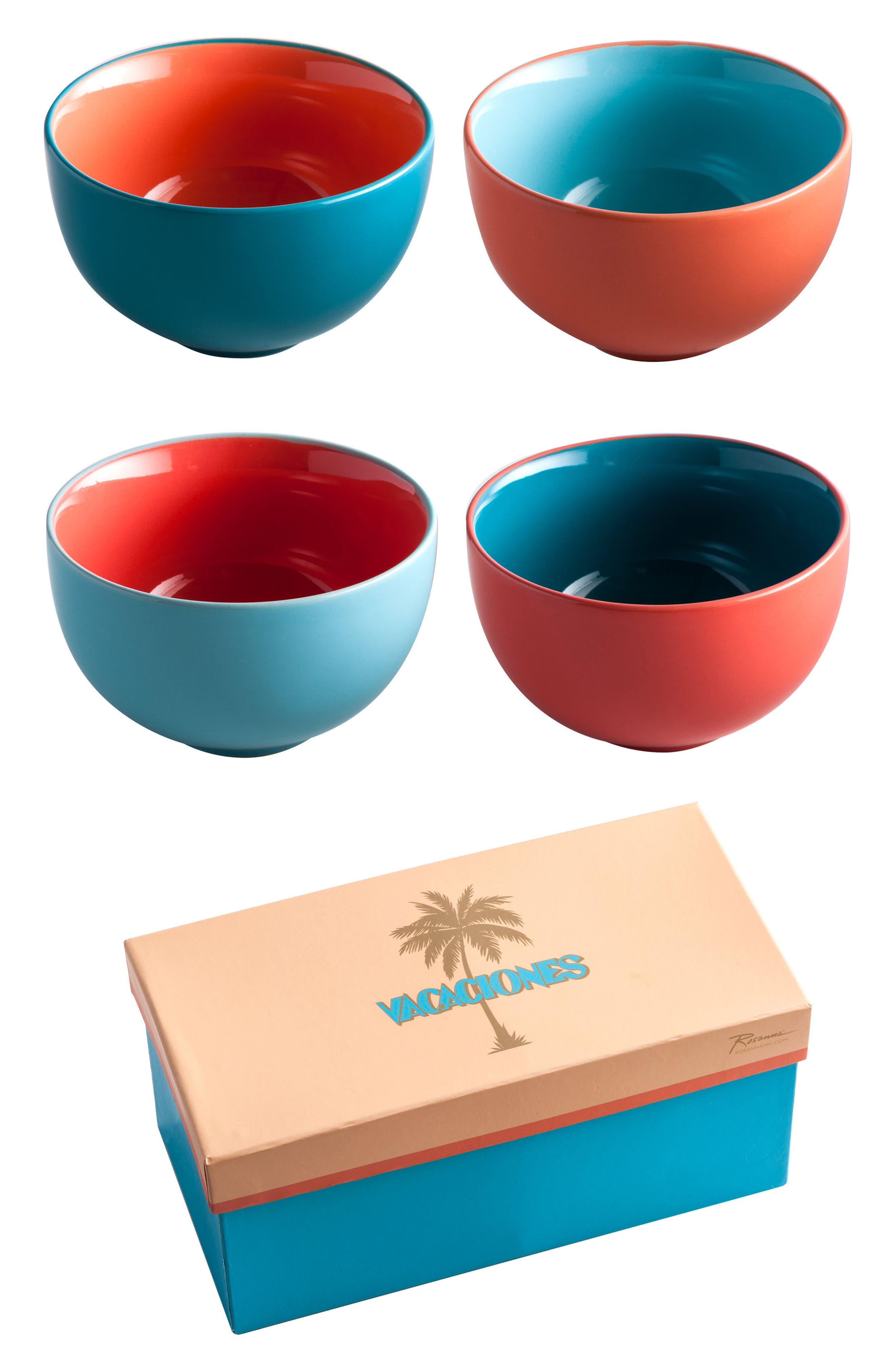 Vacaciones Set of 4 Bowls,                             Main thumbnail 1, color,                             400