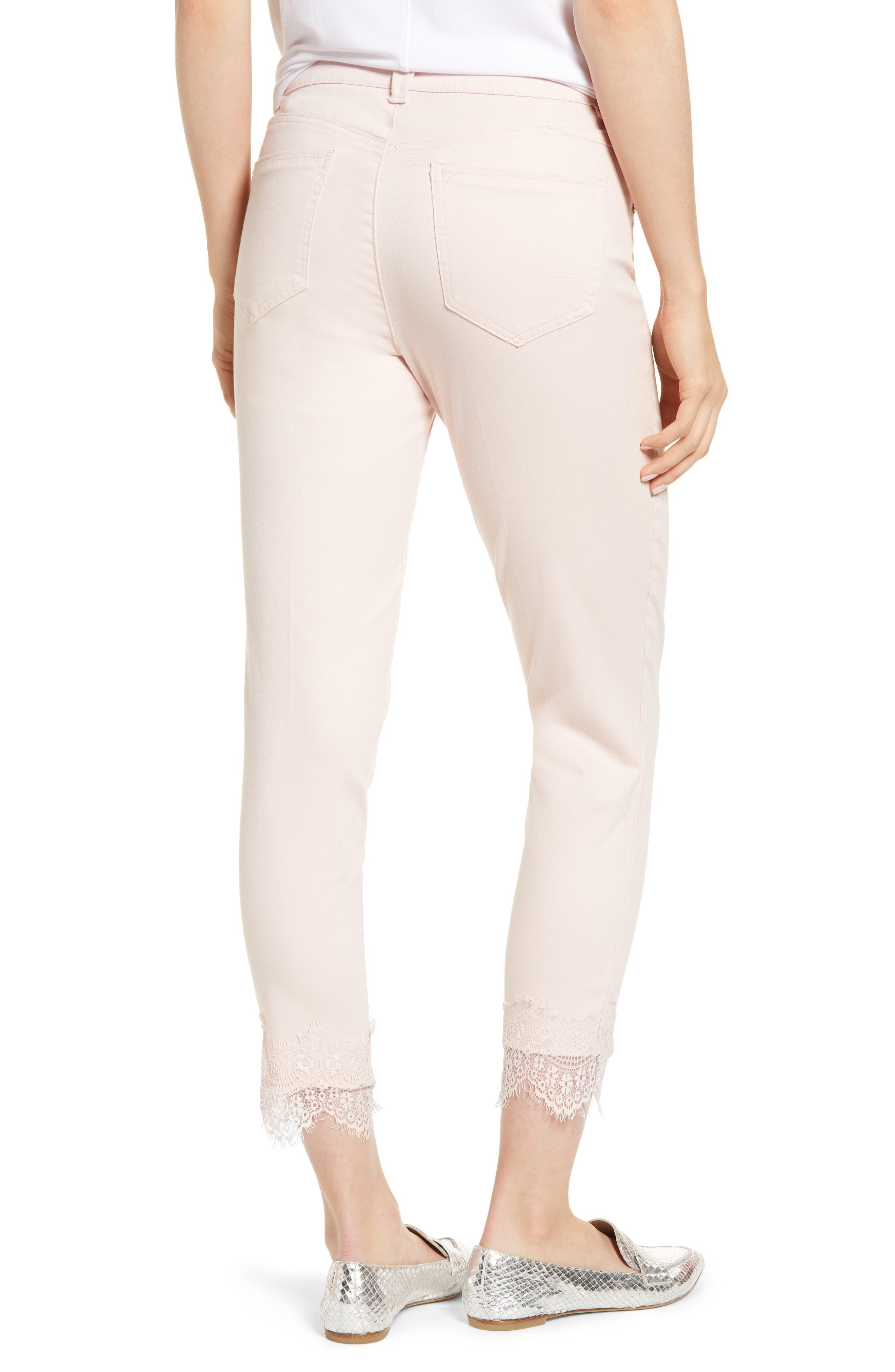 WIT & WISDOM,                             Ab-Solution Lace Hem Ankle Skinny Pants,                             Alternate thumbnail 2, color,                             WISPER PINK