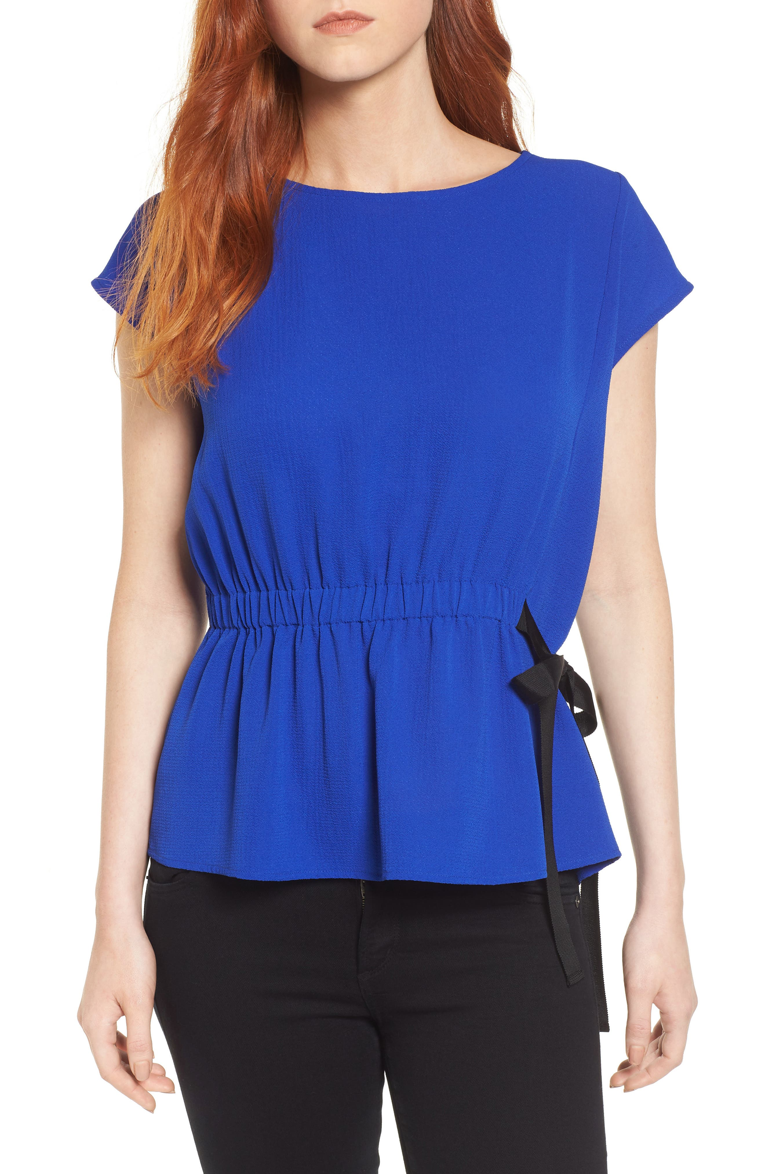 Gathered Waist Side Tie Top,                             Main thumbnail 4, color,