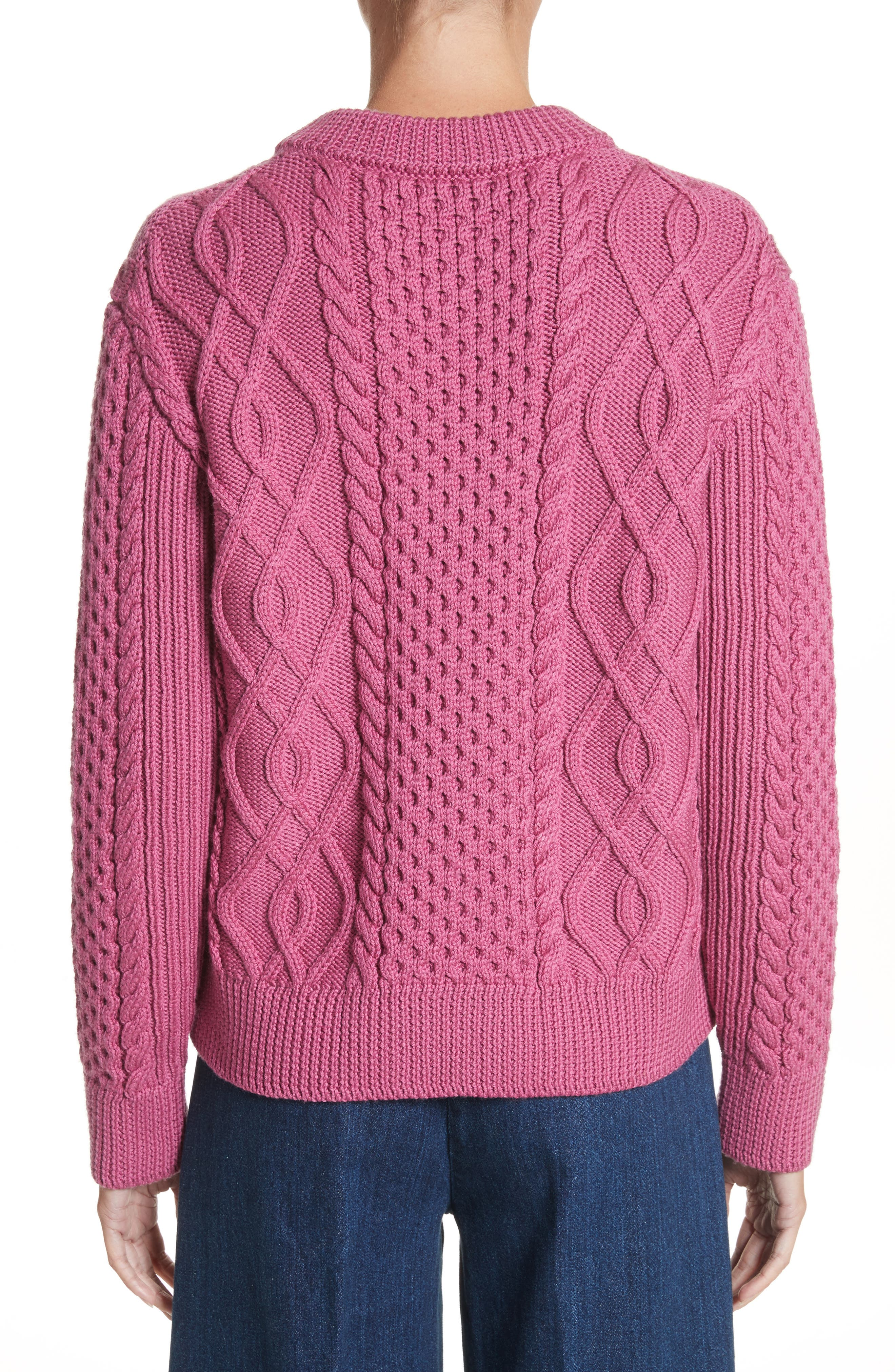 Merino Wool Cable Knit Sweater,                             Alternate thumbnail 2, color,