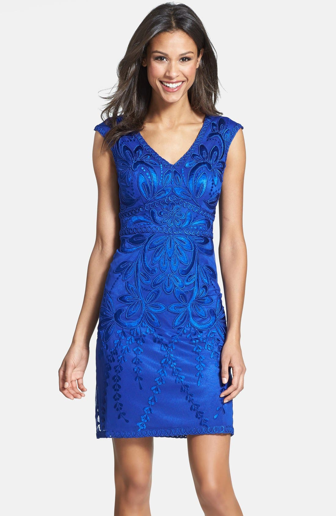 SUE WONG,                             Embroidered Sheath Dress,                             Alternate thumbnail 2, color,                             404