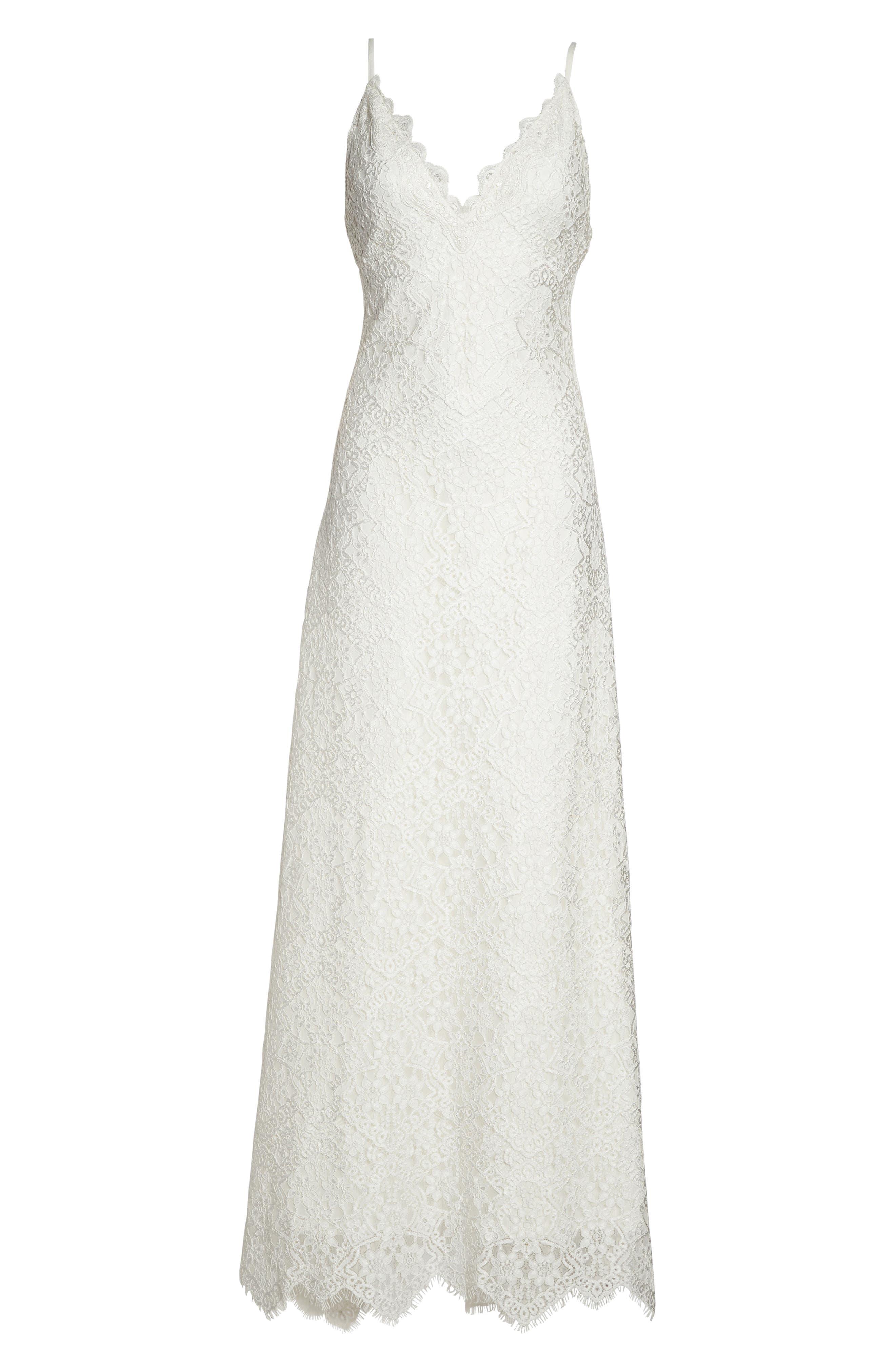 Chiffon Sash Scalloped Lace Gown,                             Alternate thumbnail 6, color,                             900