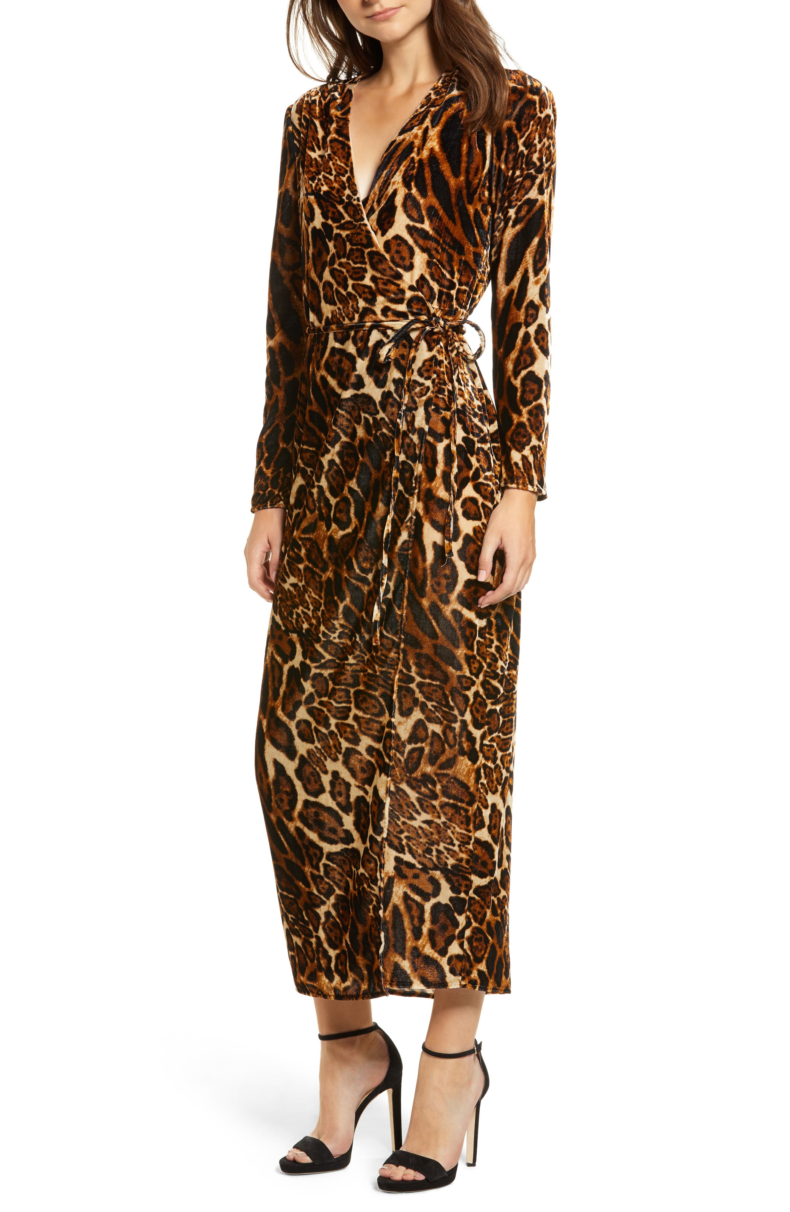 Gwyneth Velvet Wrap Midi Dress,                             Main thumbnail 1, color,                             LEOPARD