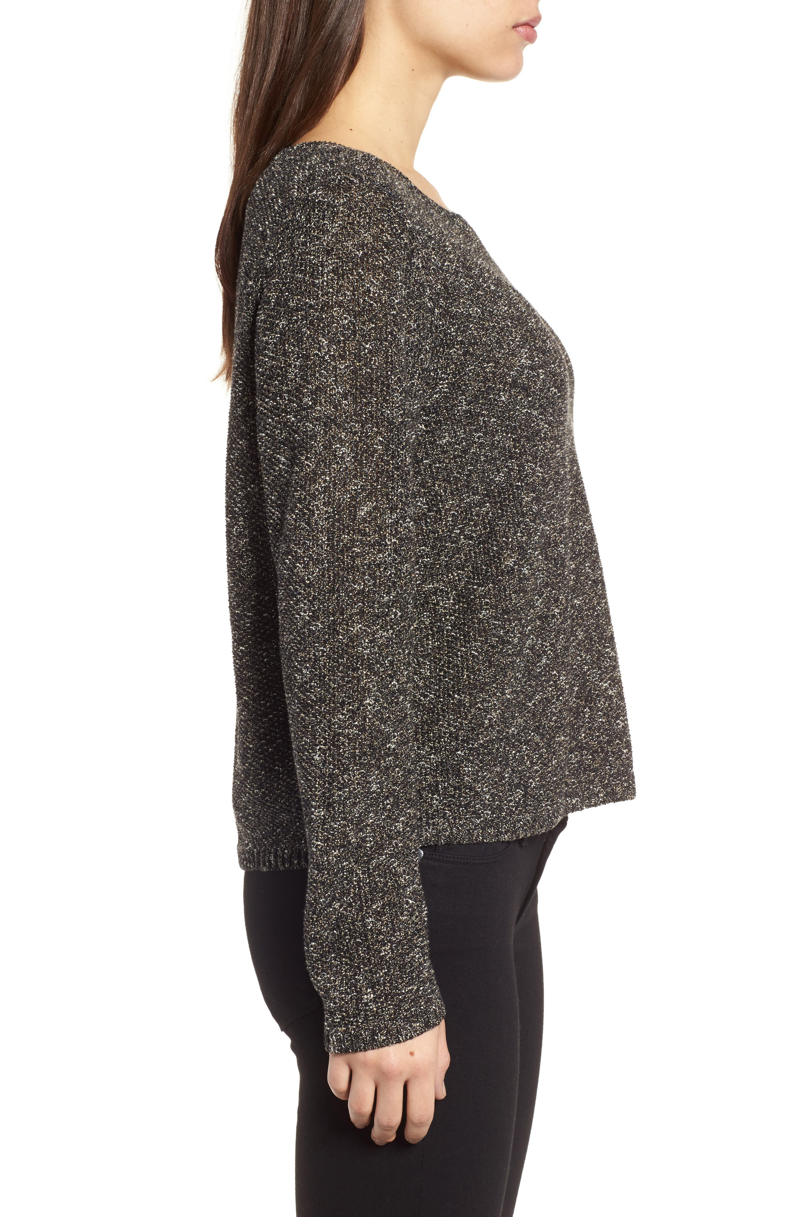 Tweed Knit Sweater,                             Alternate thumbnail 3, color,