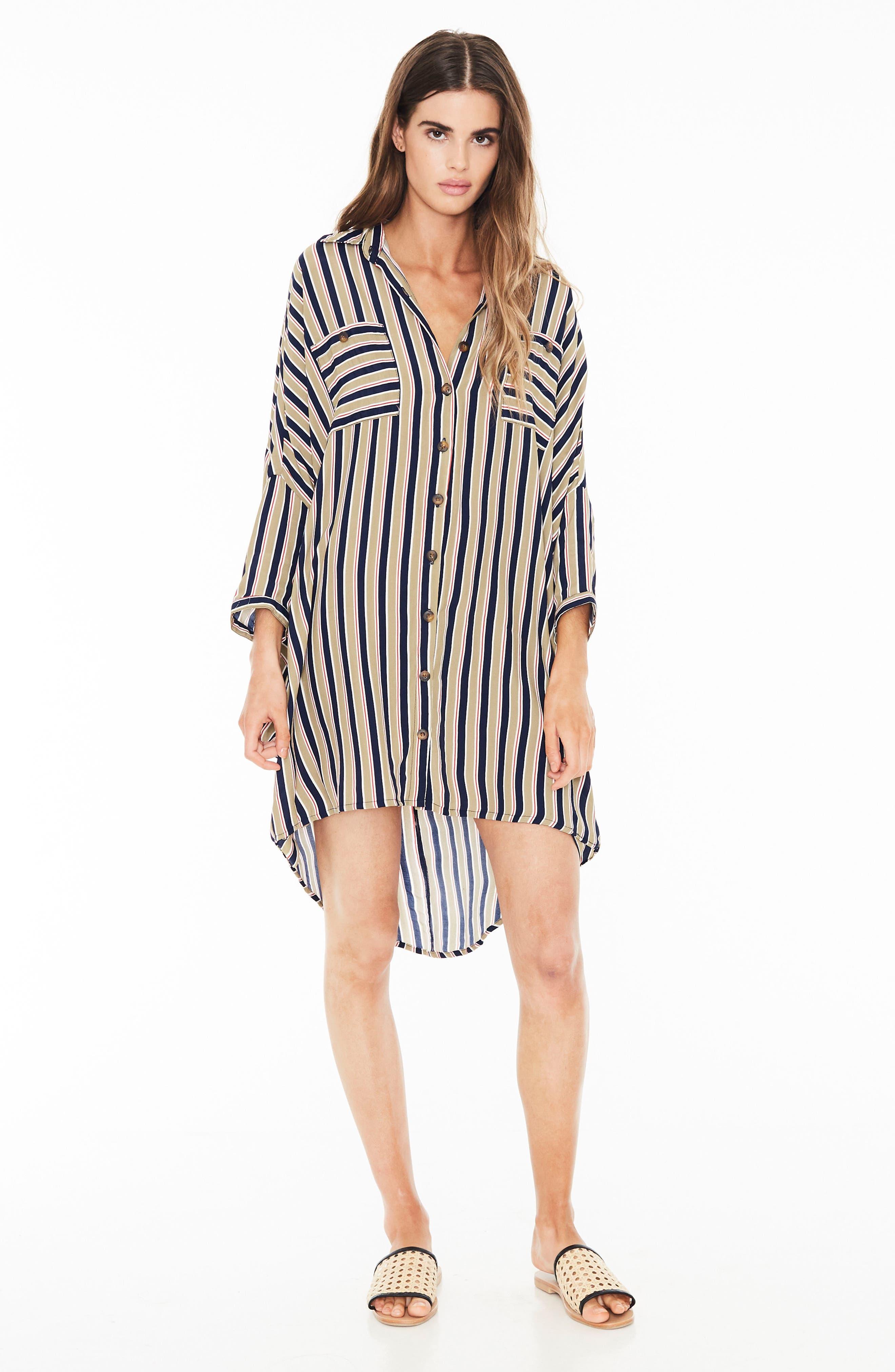 Spencer Stripe Shirtdress,                             Alternate thumbnail 4, color,                             TRENTINI STRIPE PRINT