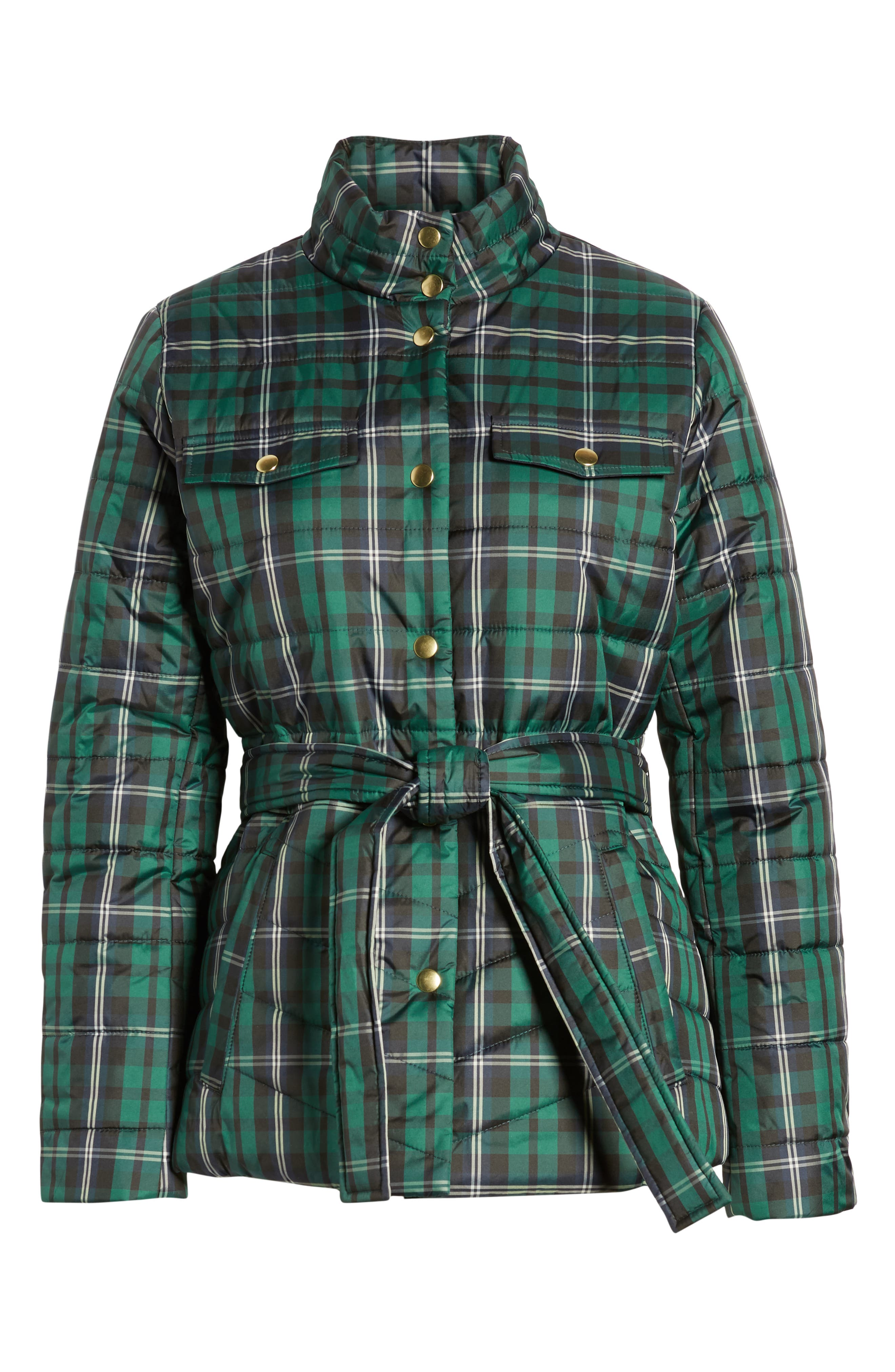 Plaid Belted Puffer Jacket,                             Alternate thumbnail 3, color,                             GREEN WHITE GINGHAM