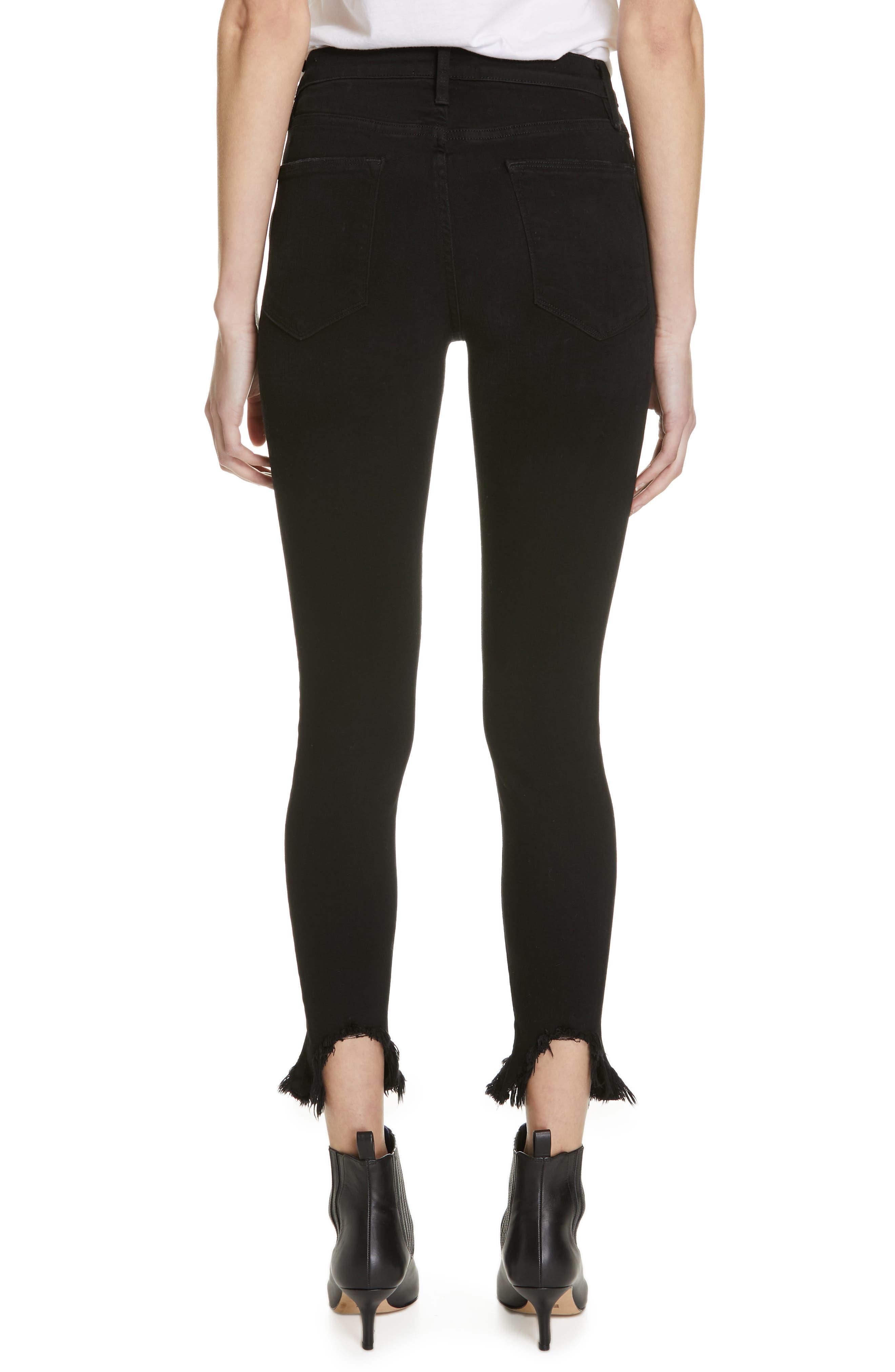 Le High Shredded Curved Hem Skinny Jeans,                             Alternate thumbnail 2, color,                             BLACKFISH