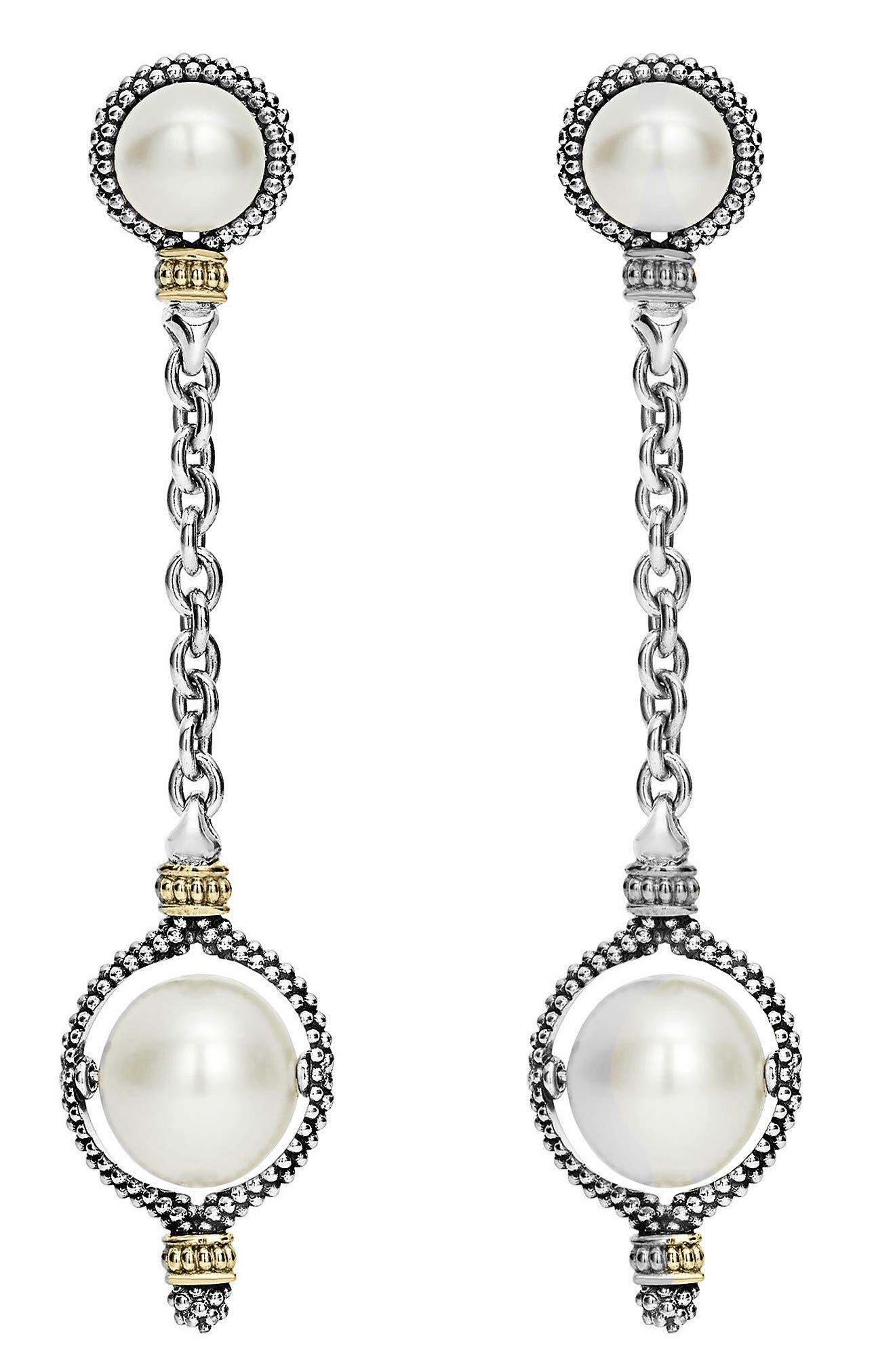 Luna Pearl Drop Earrings,                             Alternate thumbnail 2, color,                             SILVER/ PEARL