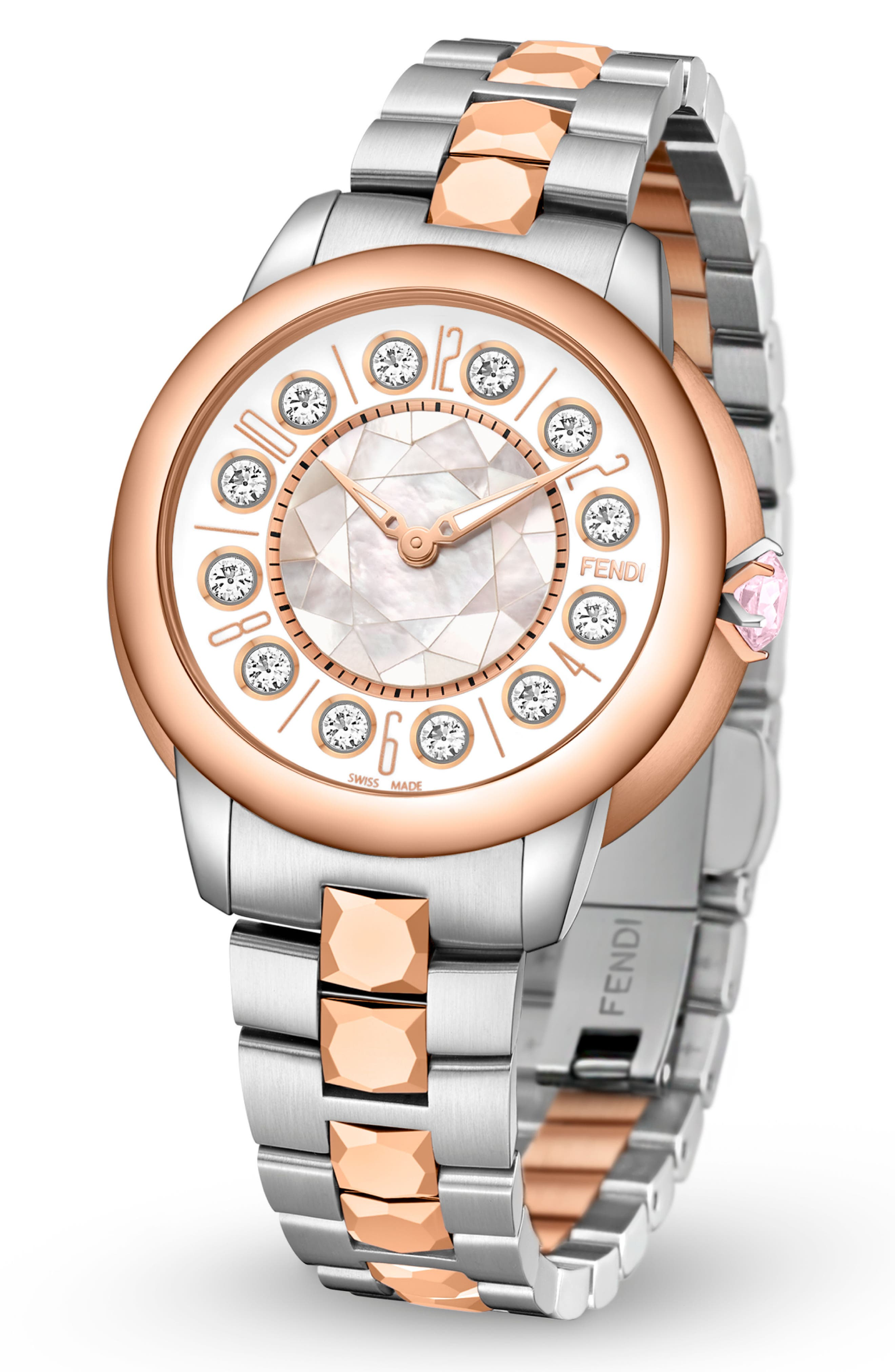 Ishine Rotating Stone Bracelet Watch, 33mm,                             Alternate thumbnail 5, color,                             SILVER/ MOP/ ROSE GOLD