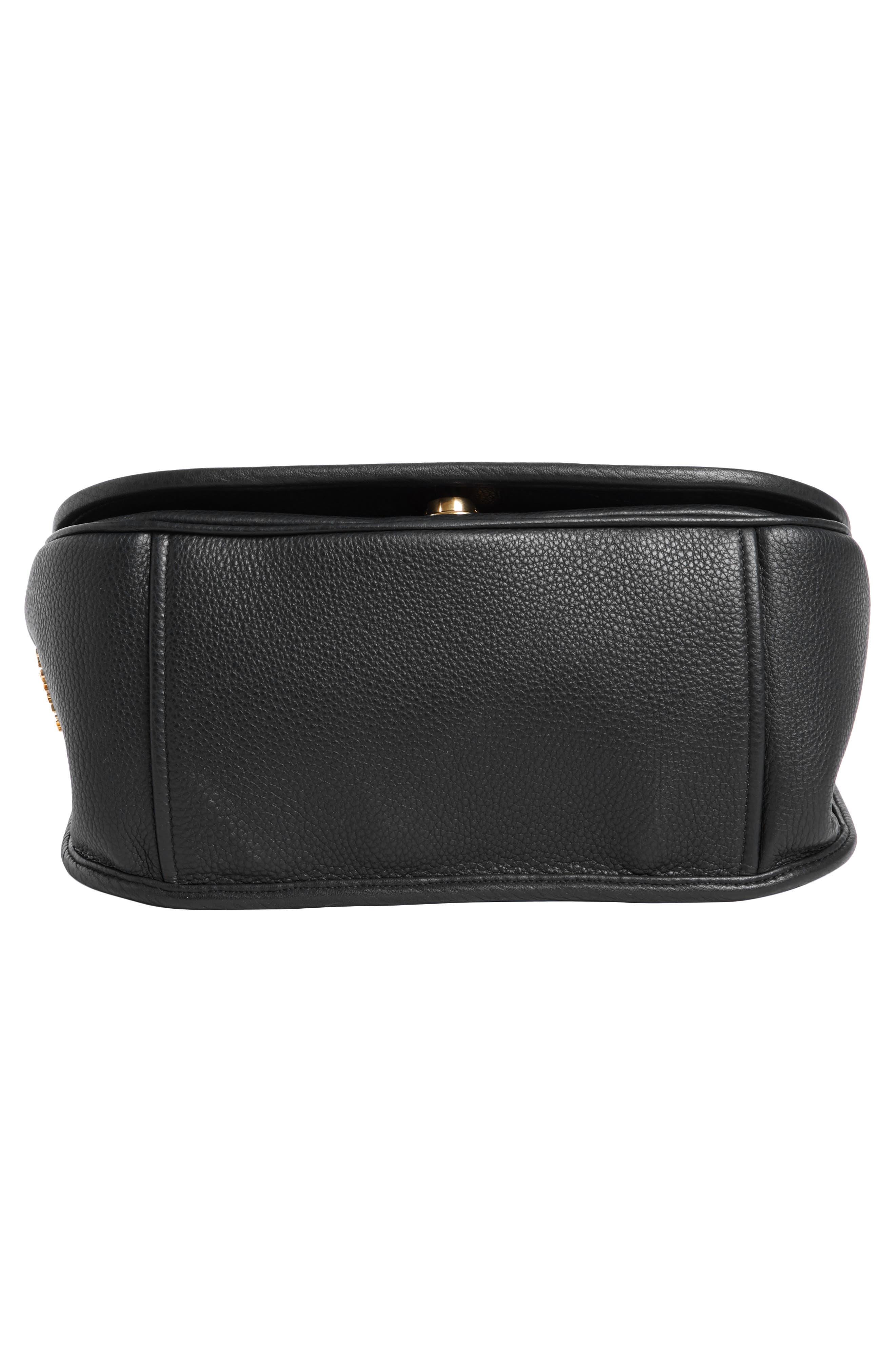 Vitello Daino Heritage Logo Leather Crossbody Bag,                             Alternate thumbnail 8, color,                             001