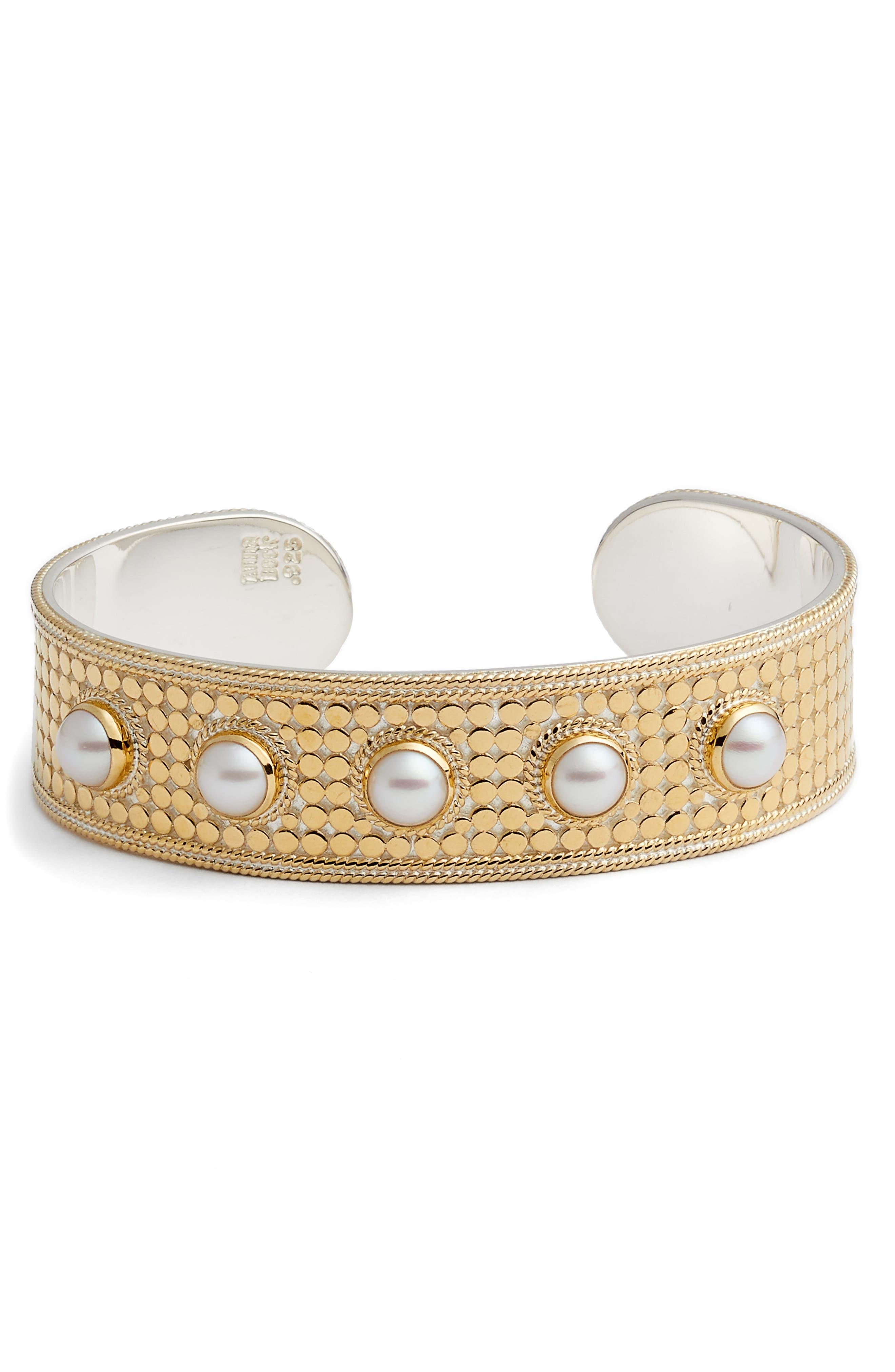 Medium Pearl Cuff Bracelet,                         Main,                         color, GOLD/ PEARL