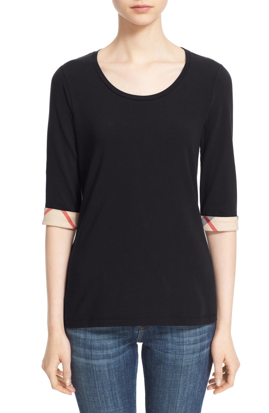 Check Trim Tee,                         Main,                         color, BLACK