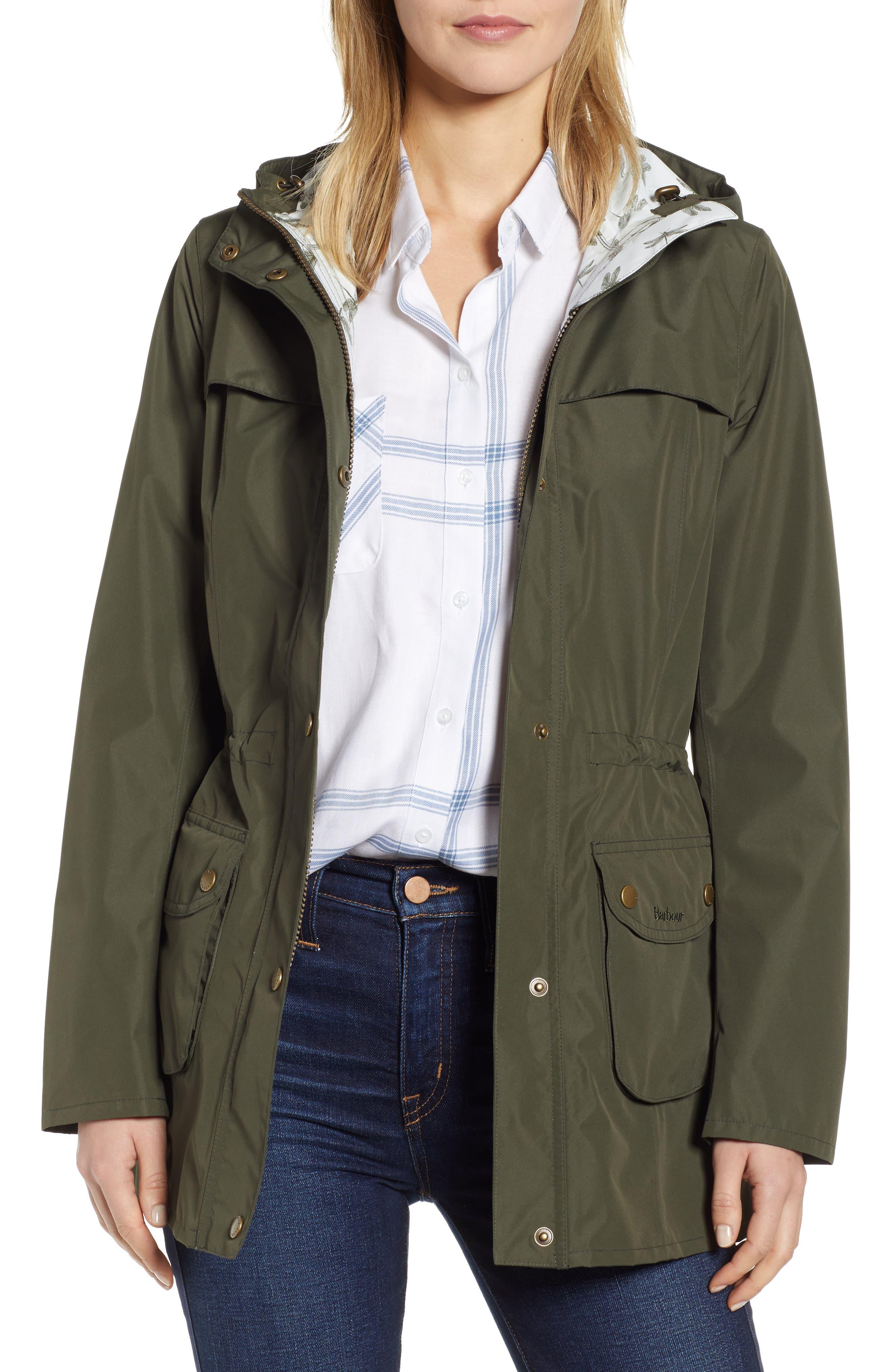 Barbour Aire Waterproof Hooded Jacket, US / 14 UK - Green