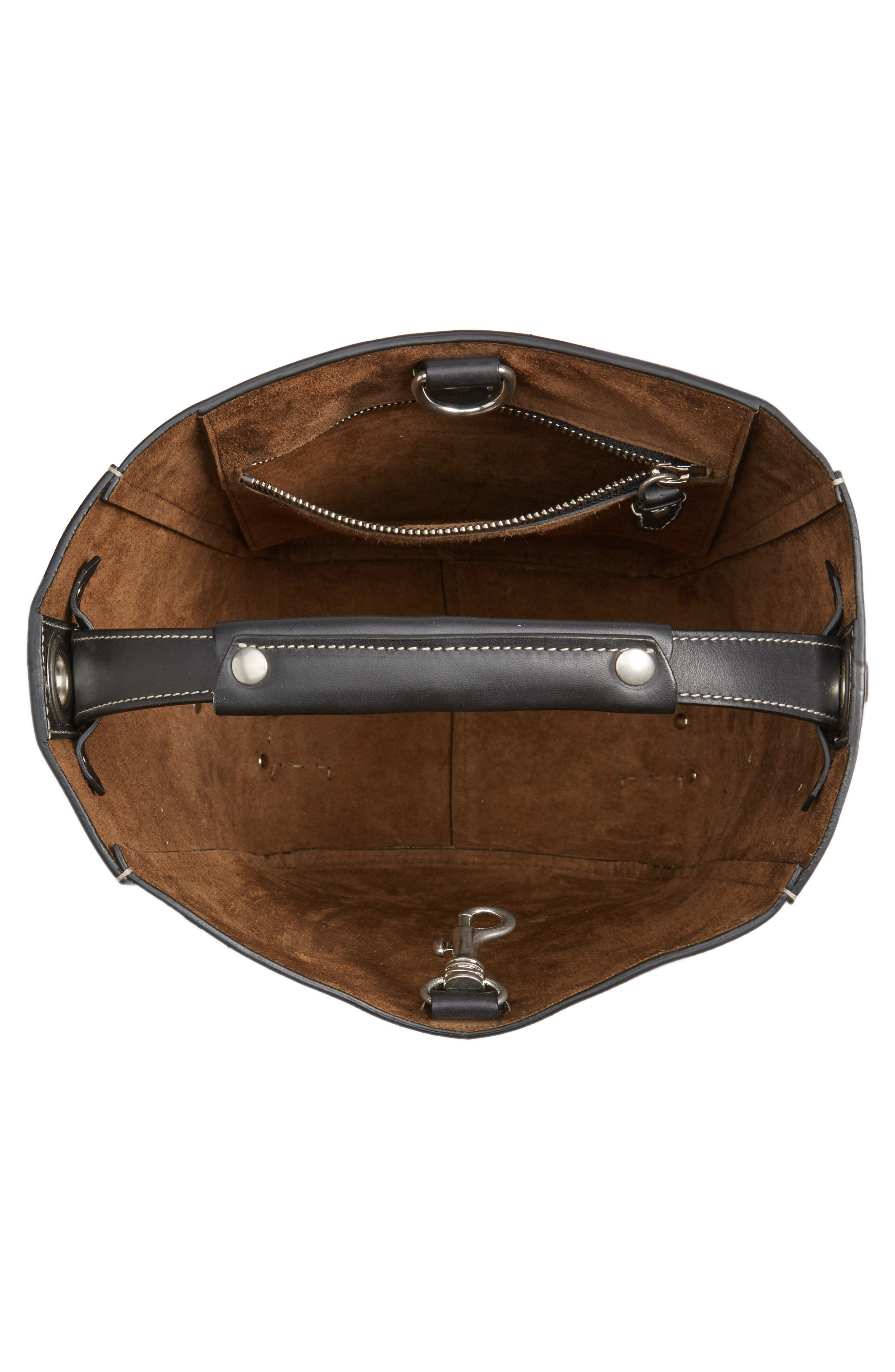 Starlet Leather Bucket Bag,                             Alternate thumbnail 4, color,                             BLACK