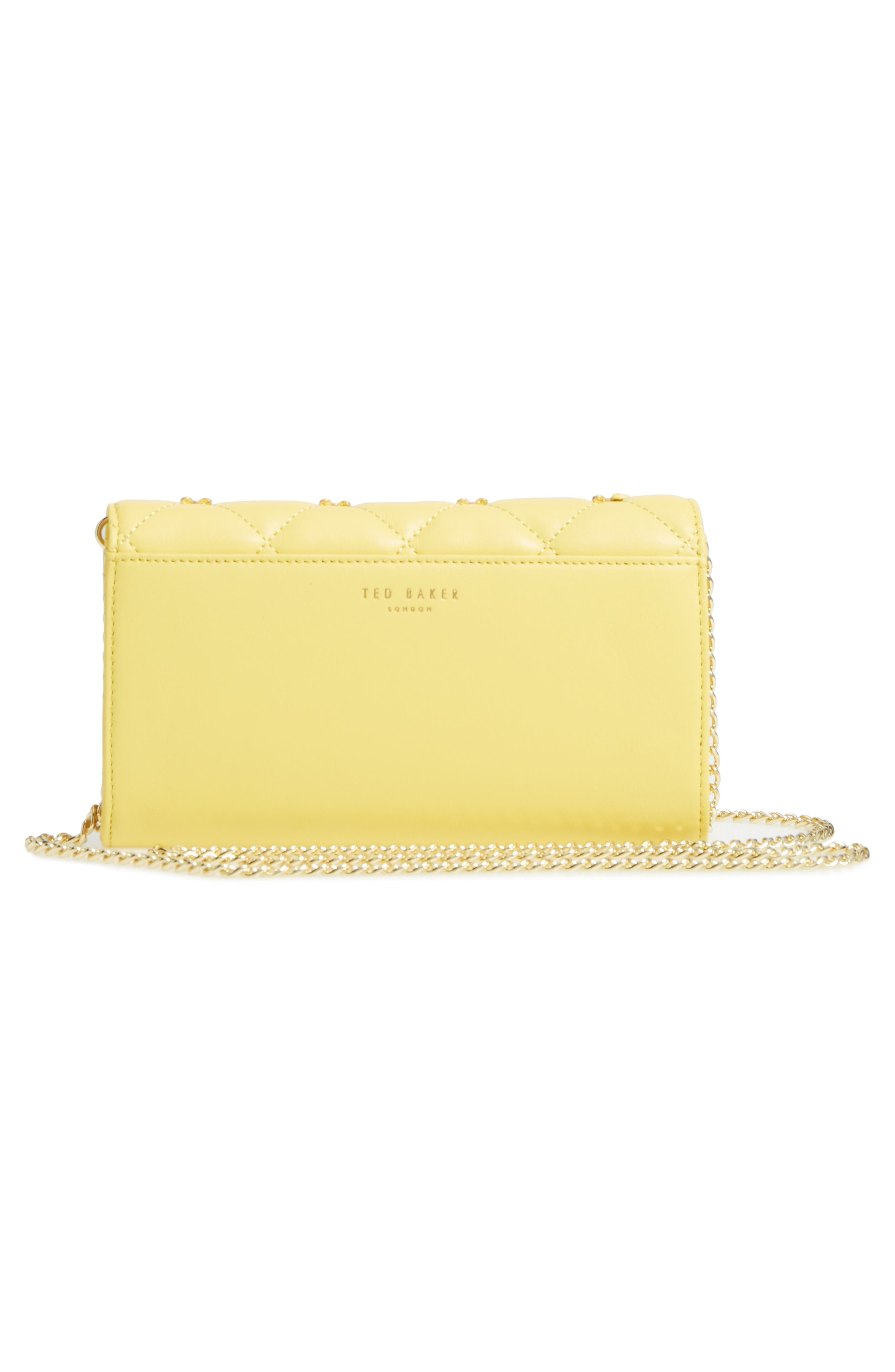 TED BAKER LONDON,                             Quilted Bow Leather Matinée Wallet on a Chain,                             Alternate thumbnail 3, color,                             700