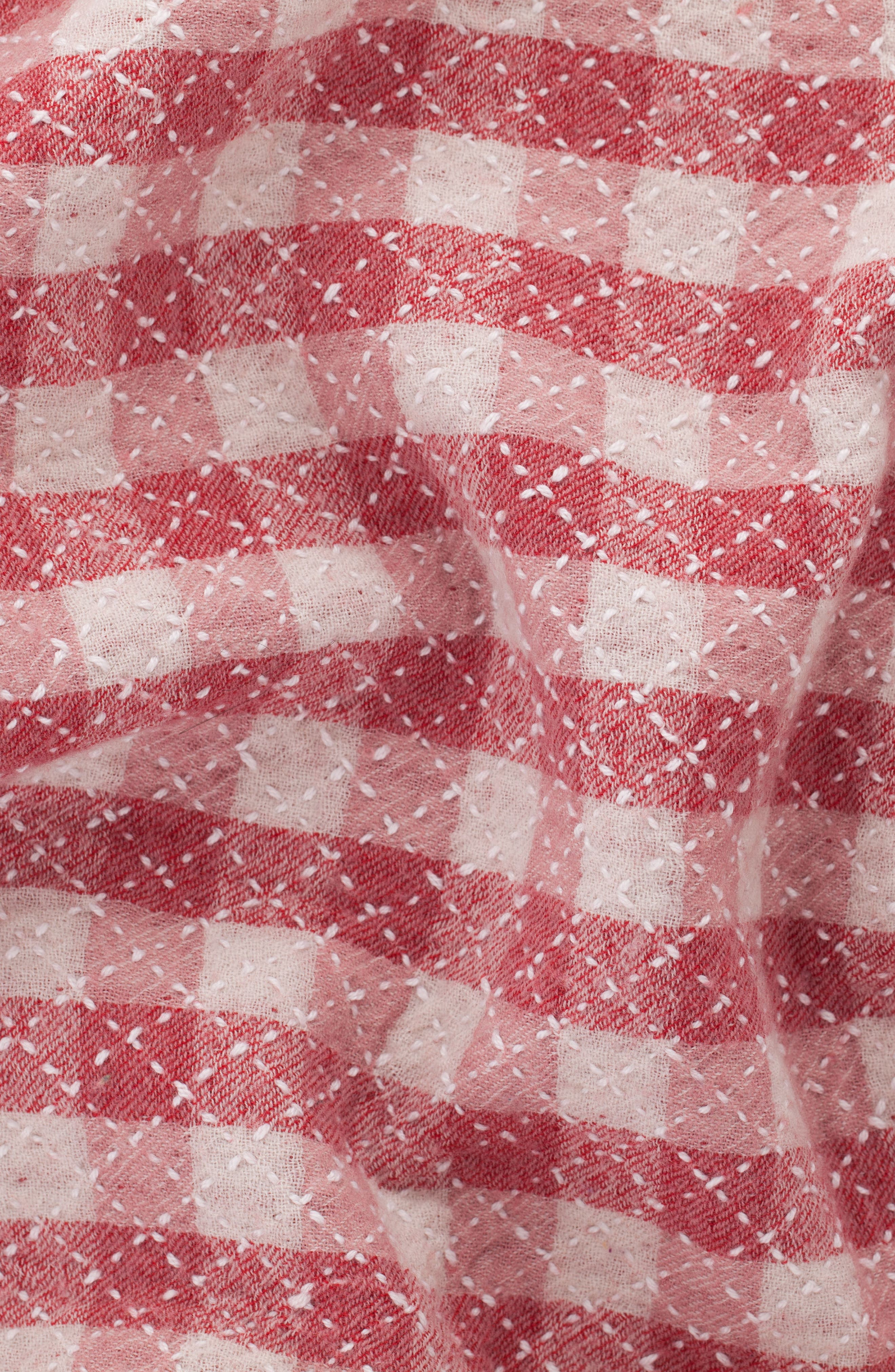 Reversible Hand Embroidered Merino Wool Blanket,                             Alternate thumbnail 3, color,                             RED