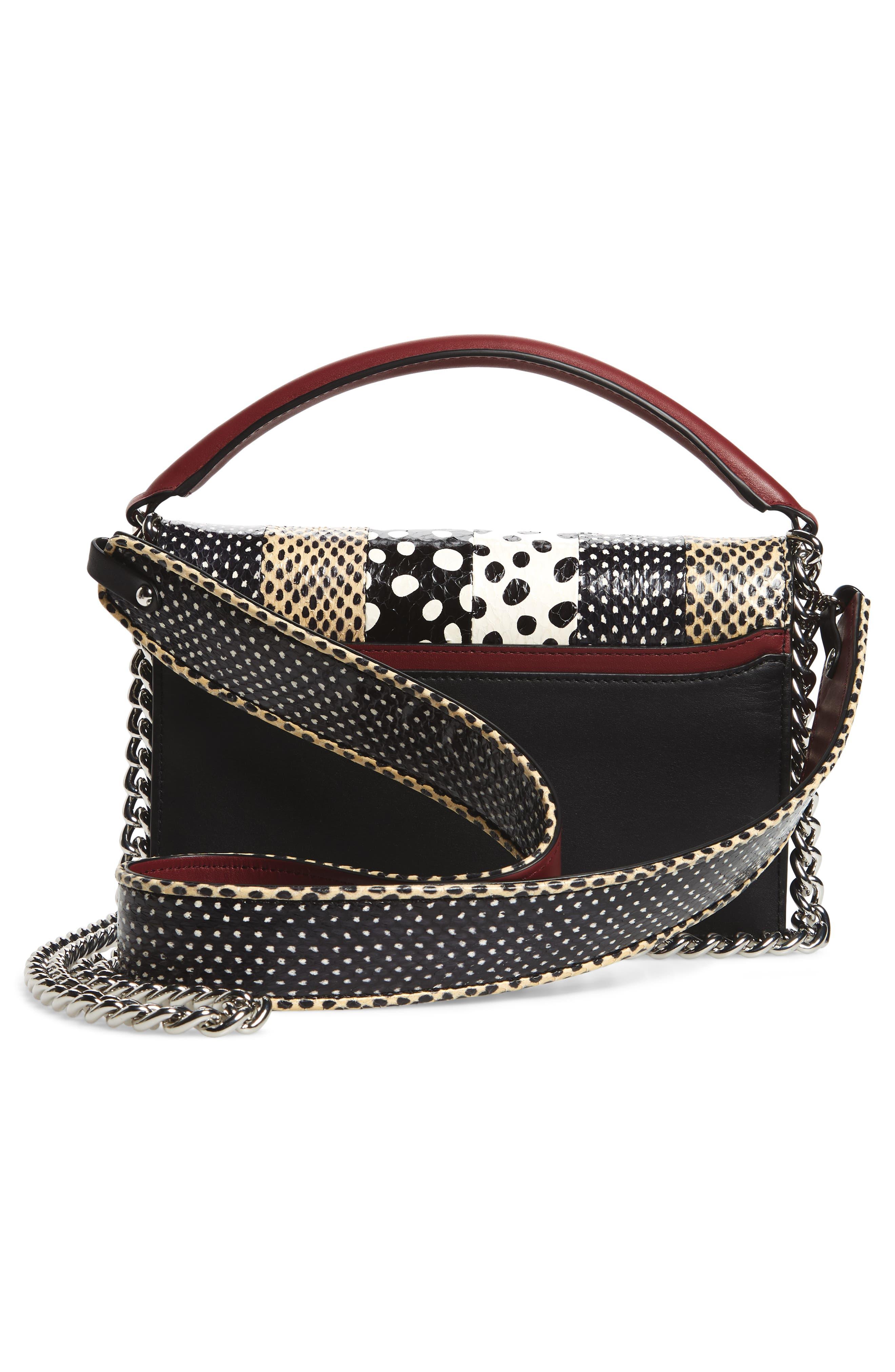 Bonne Soirée Leather & Genuine Snakeskin Top Handle Bag,                             Alternate thumbnail 3, color,