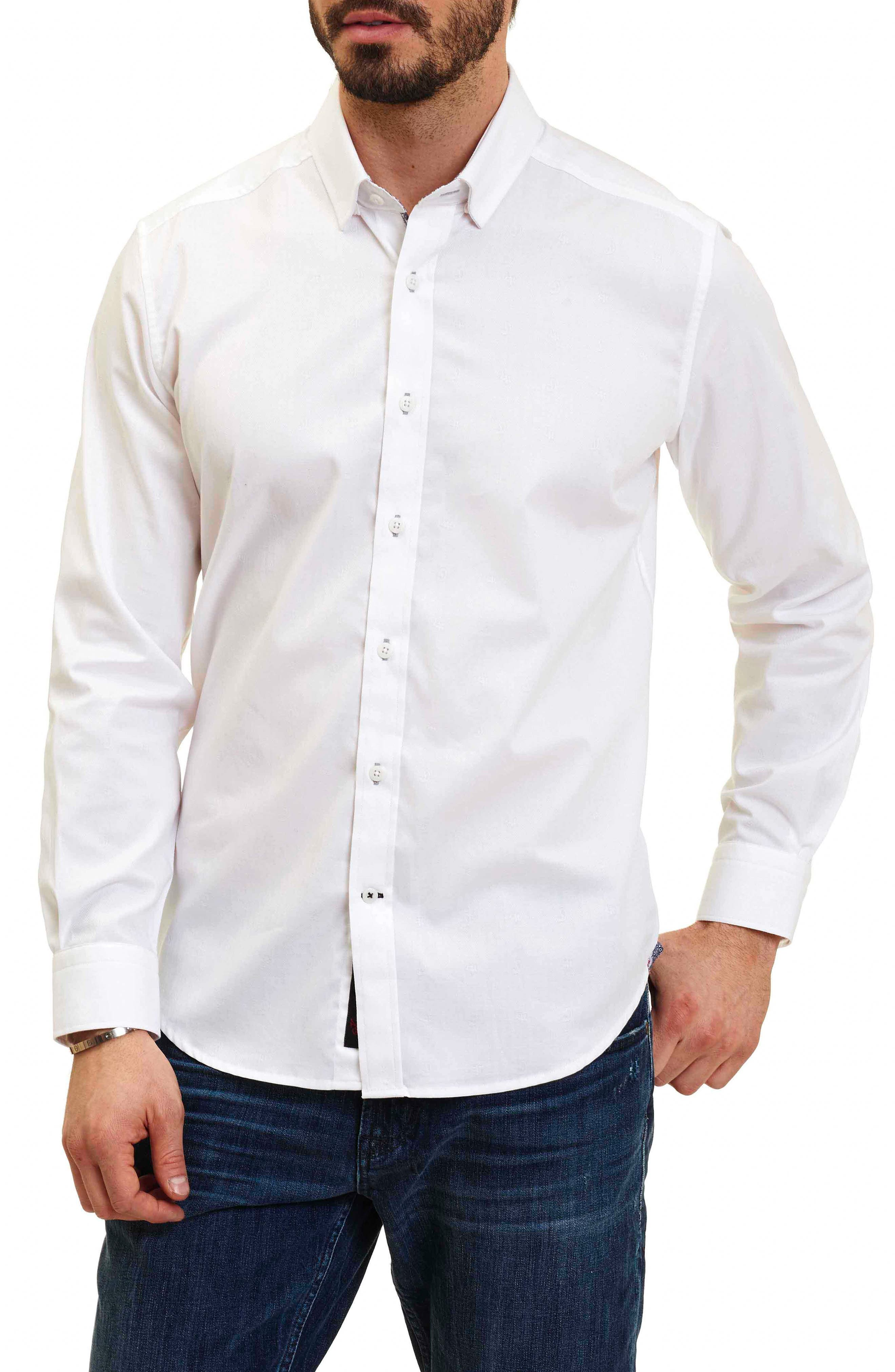 Taner Tailored Fit Dobby Herringbone Sport Shirt,                             Main thumbnail 1, color,                             WHITE