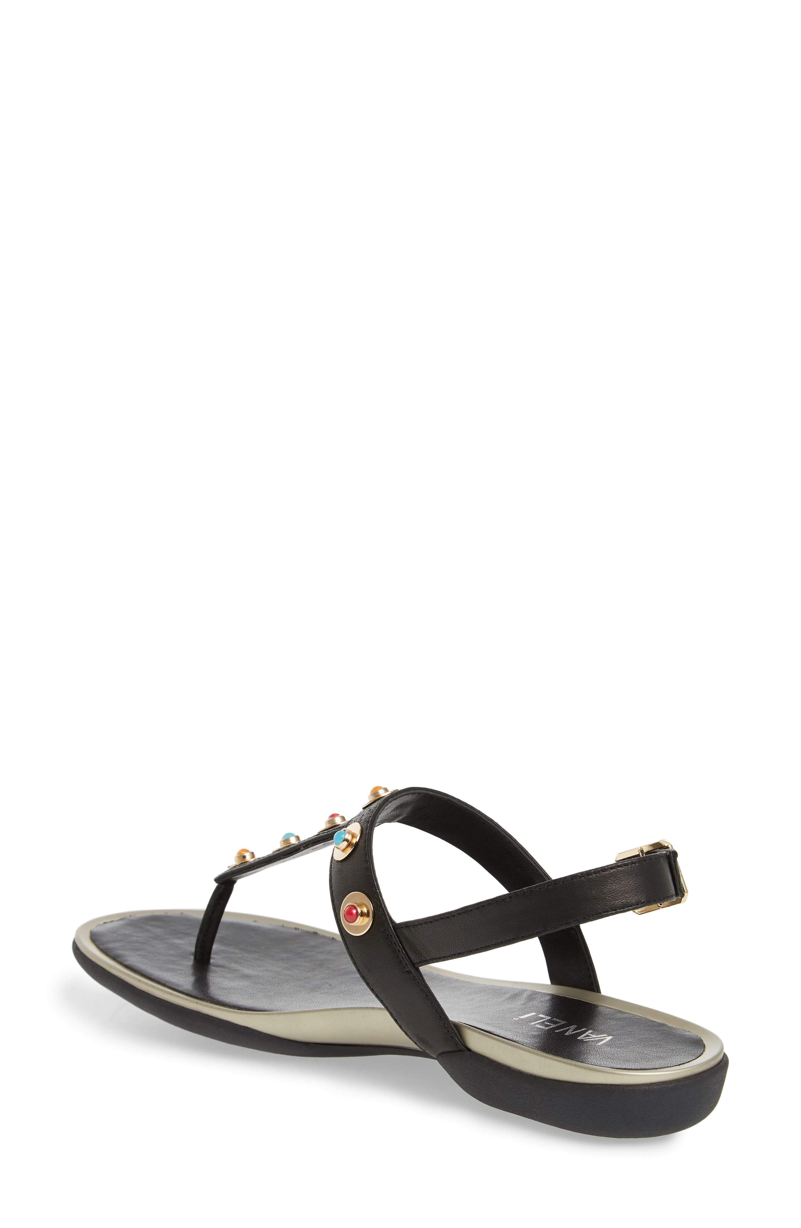 Wally Studded T-Strap Sandal,                             Alternate thumbnail 2, color,                             BLACK LEATHER