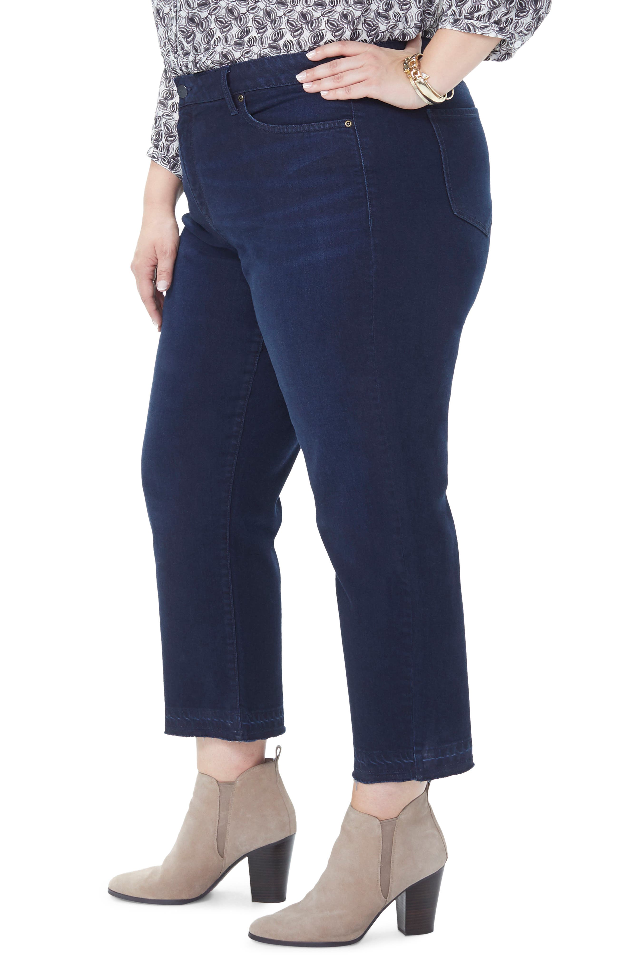 Jenna Straight Leg Release Hem Ankle Jeans,                             Alternate thumbnail 3, color,                             BIXBY