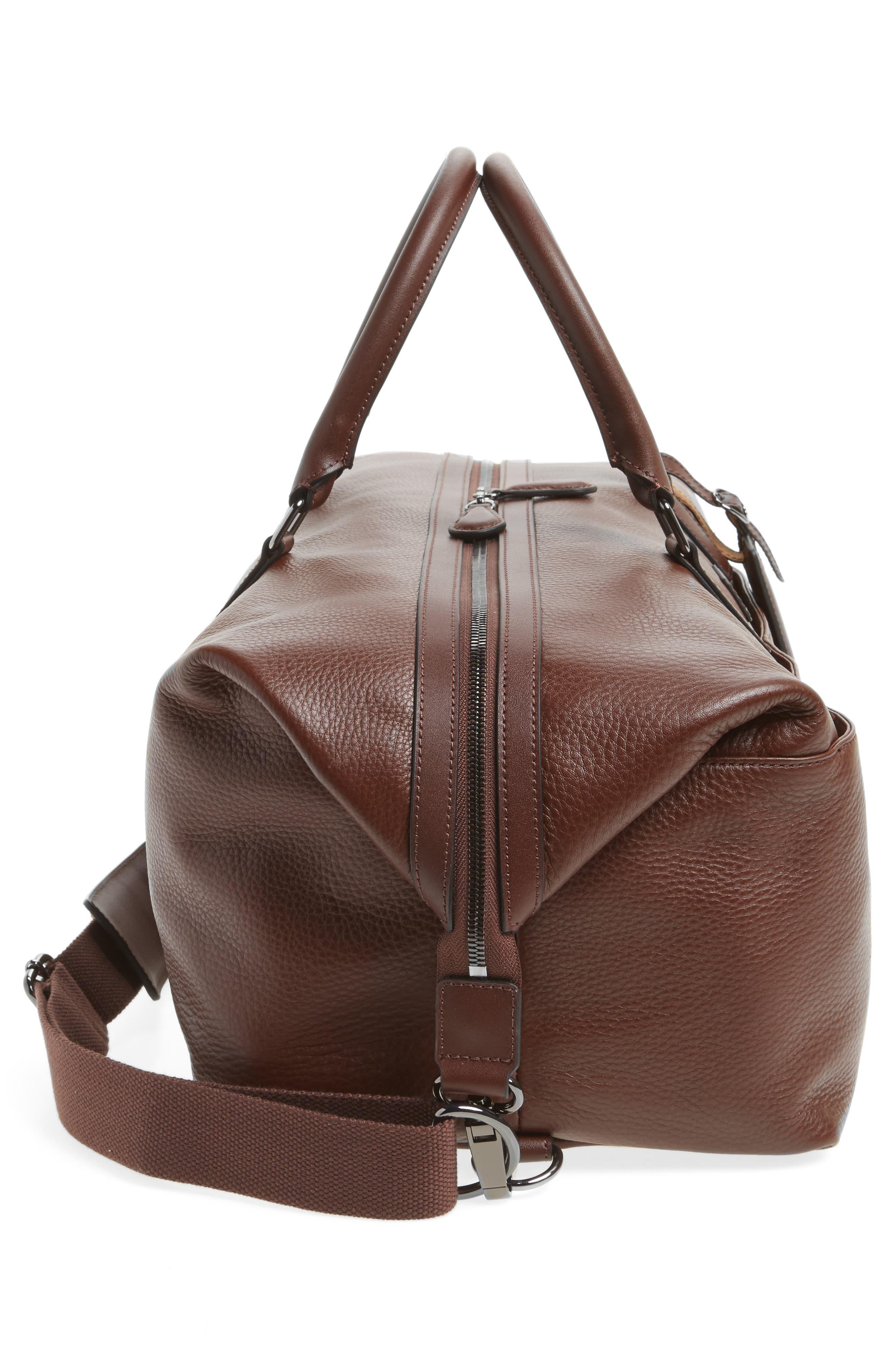 Leather Duffel Bag,                             Alternate thumbnail 5, color,                             217