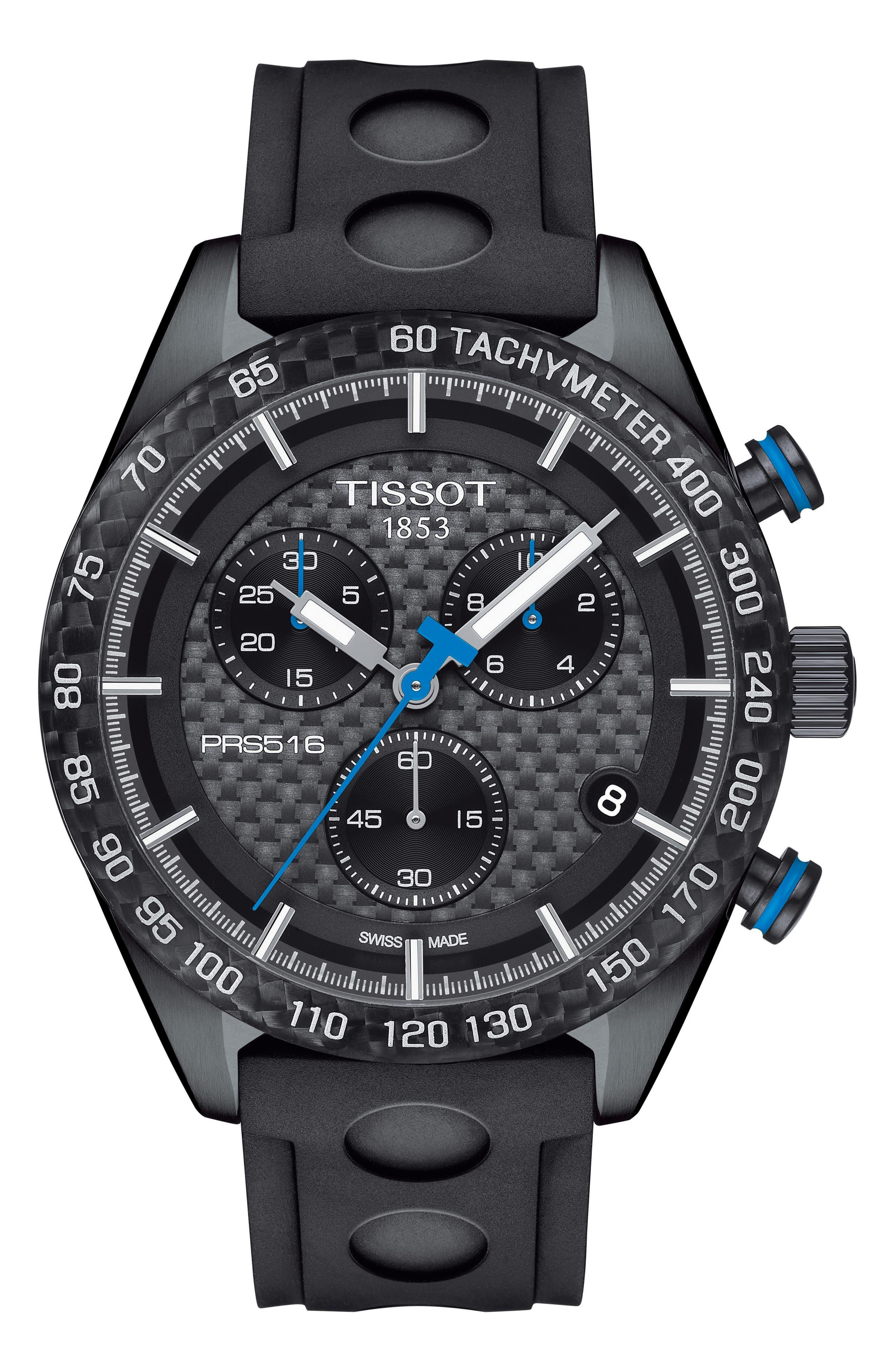 PRS516 Chronograph Rubber Strap Watch, 42mm,                             Main thumbnail 1, color,                             BLACK