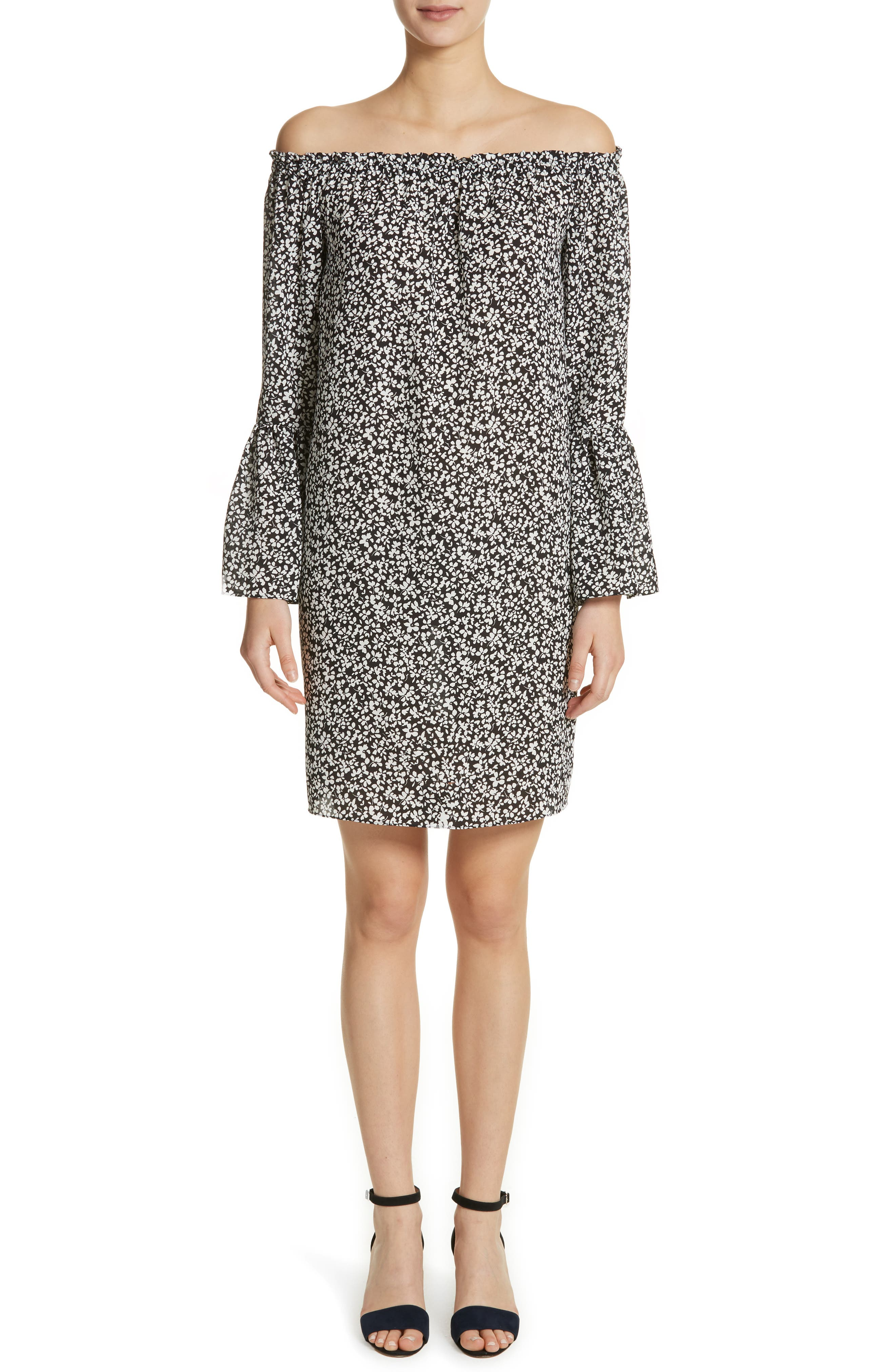 Print Silk Off the Shoulder Dress,                         Main,                         color, 003