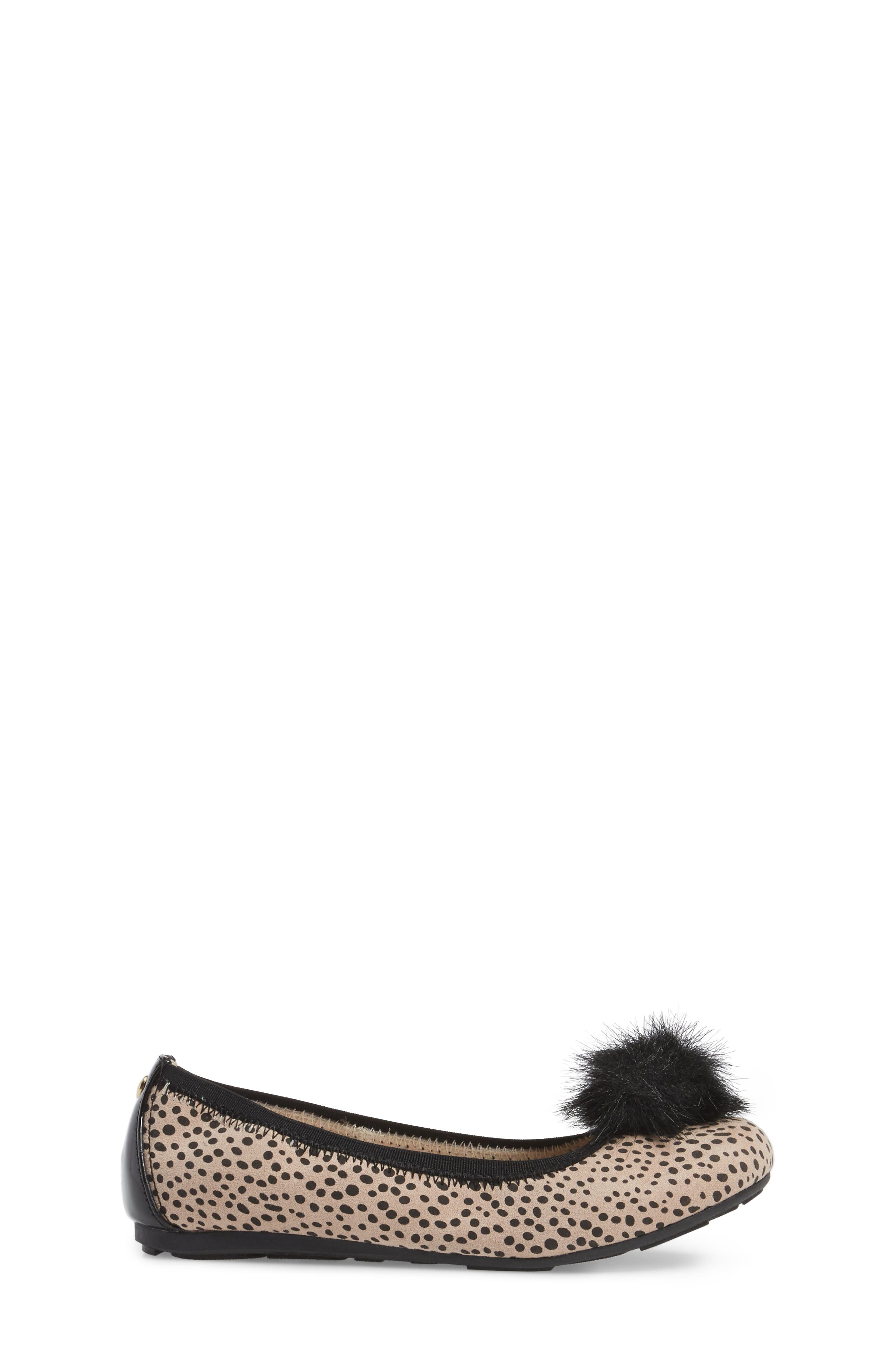 Fannie Cheetah Faux Fur Pom Flat,                             Alternate thumbnail 3, color,                             012