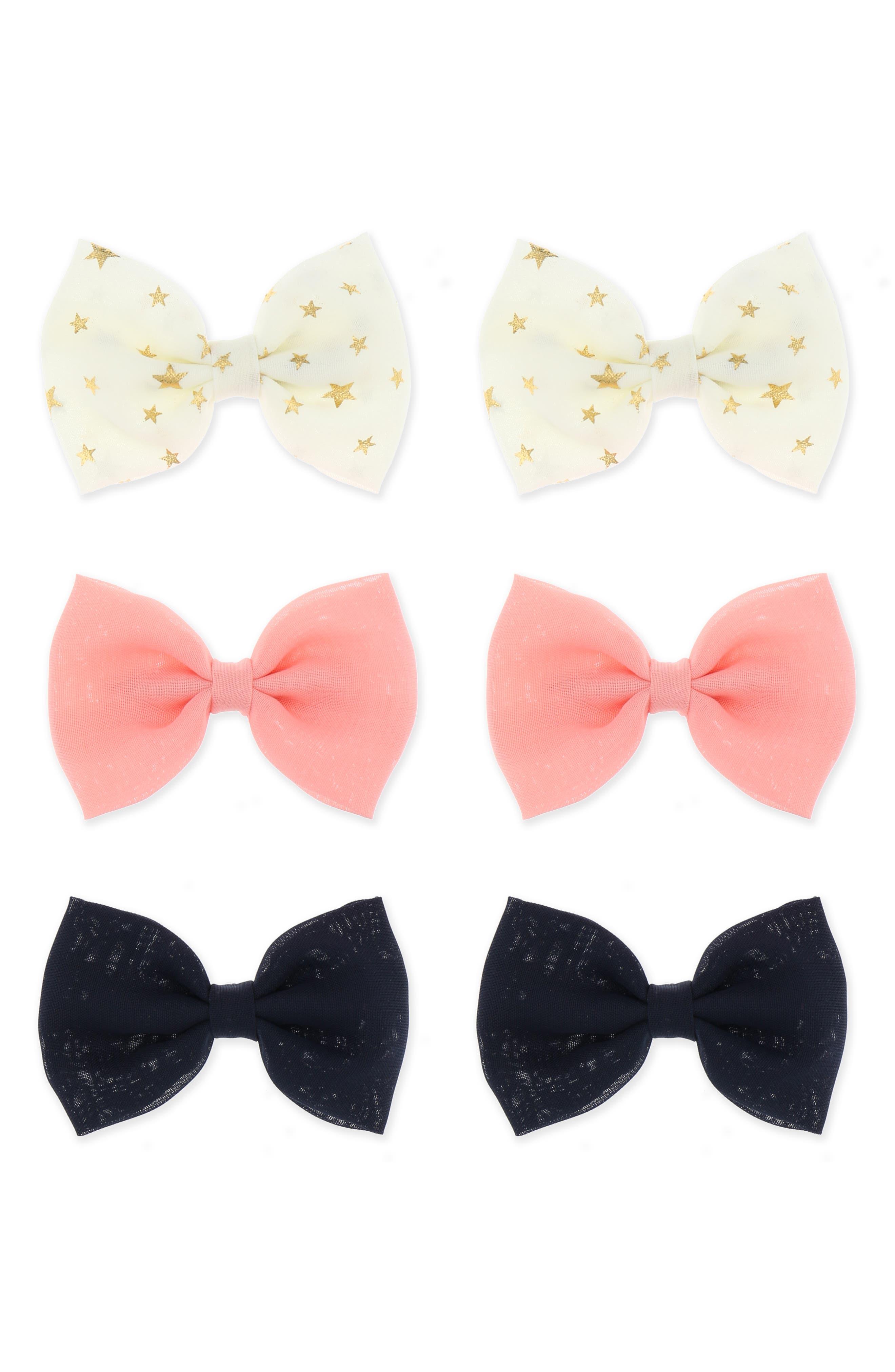 6-Piece Bow Star Hair Clip Set,                         Main,                         color, NAVY COMBO