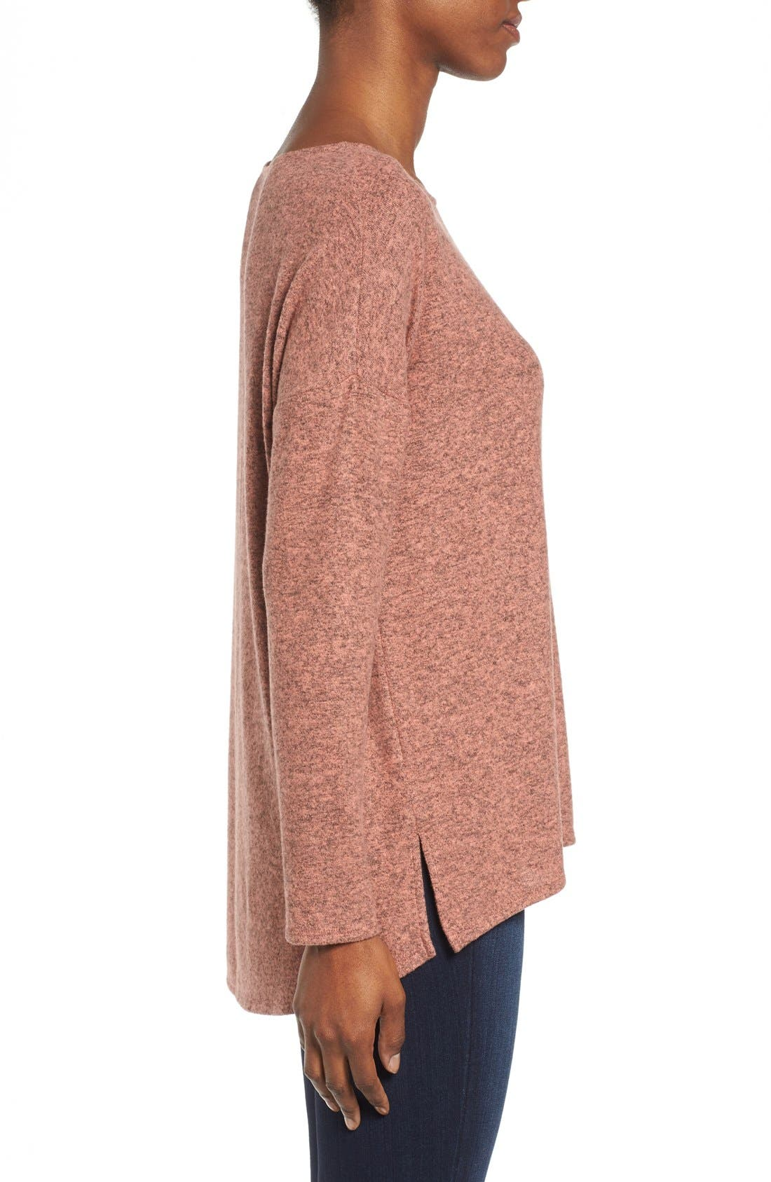 Cozy Ballet Neck High/Low Pullover,                             Alternate thumbnail 90, color,