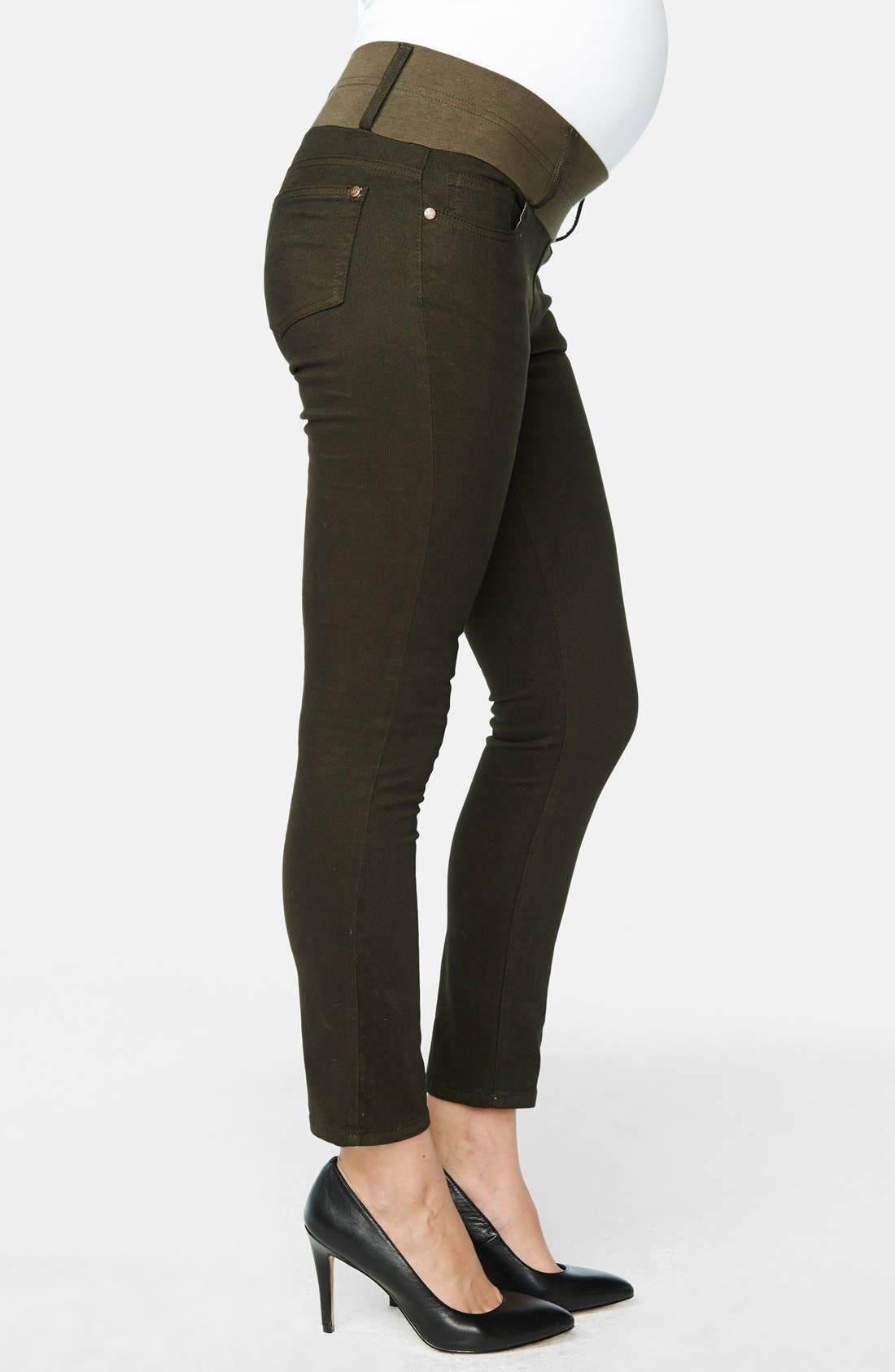 Maternity Skinny Ankle Stretch Jeans,                             Alternate thumbnail 5, color,                             OLIVE