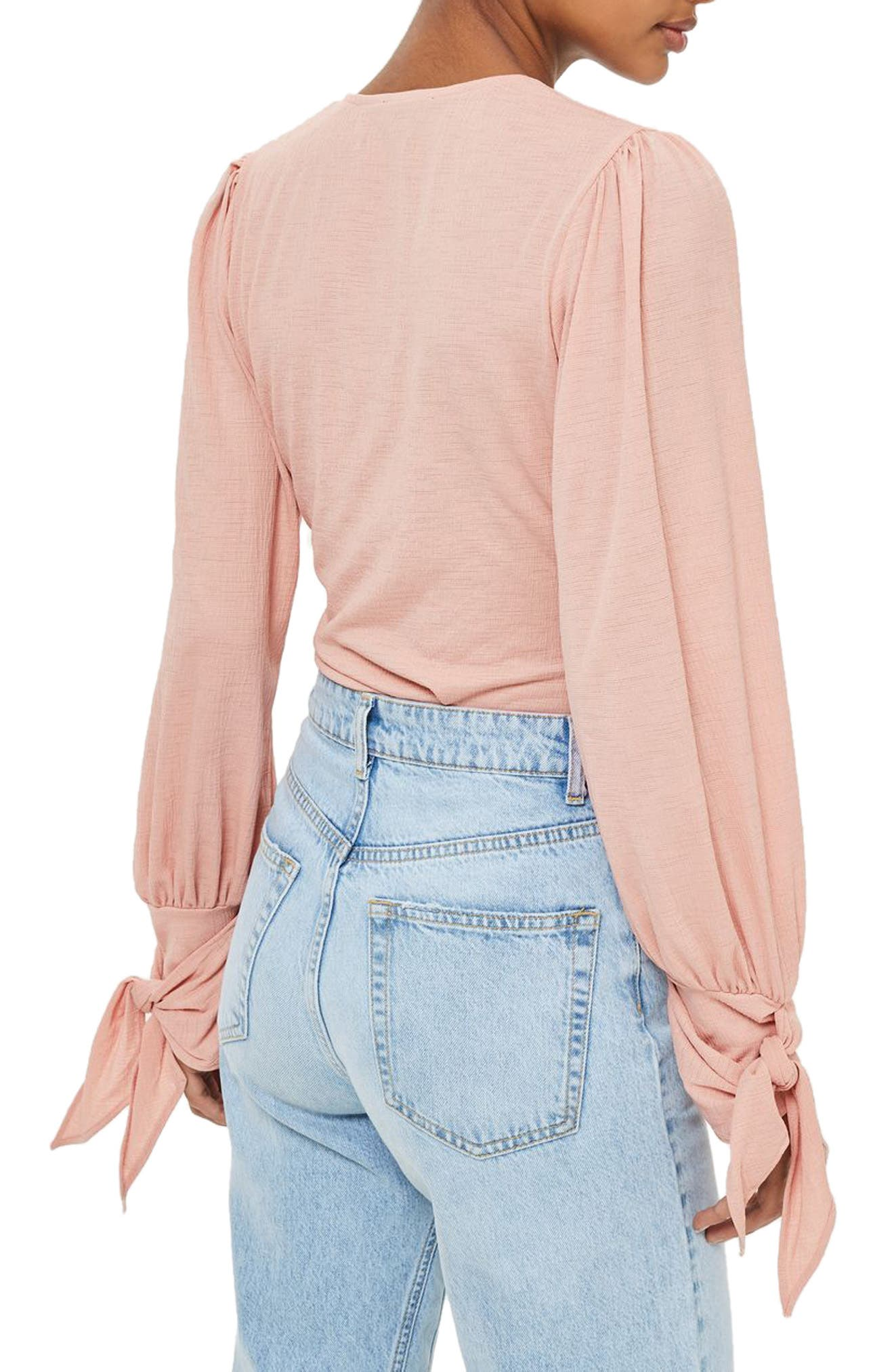 Wrap Front Tie Sleeve Top,                             Alternate thumbnail 2, color,                             650