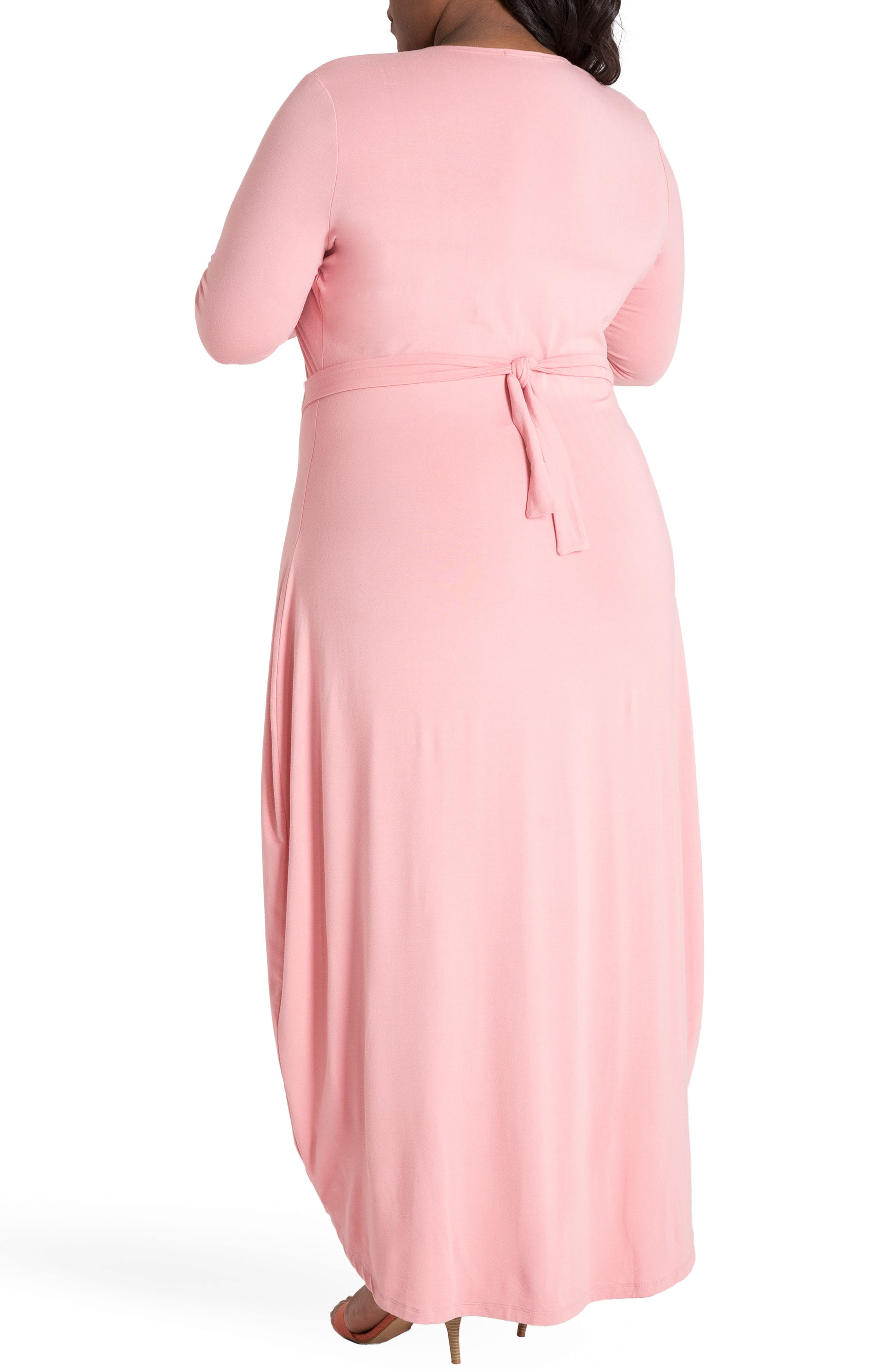 Leticia Wrap Maxi Dress,                             Alternate thumbnail 2, color,                             WHITE AND PINK